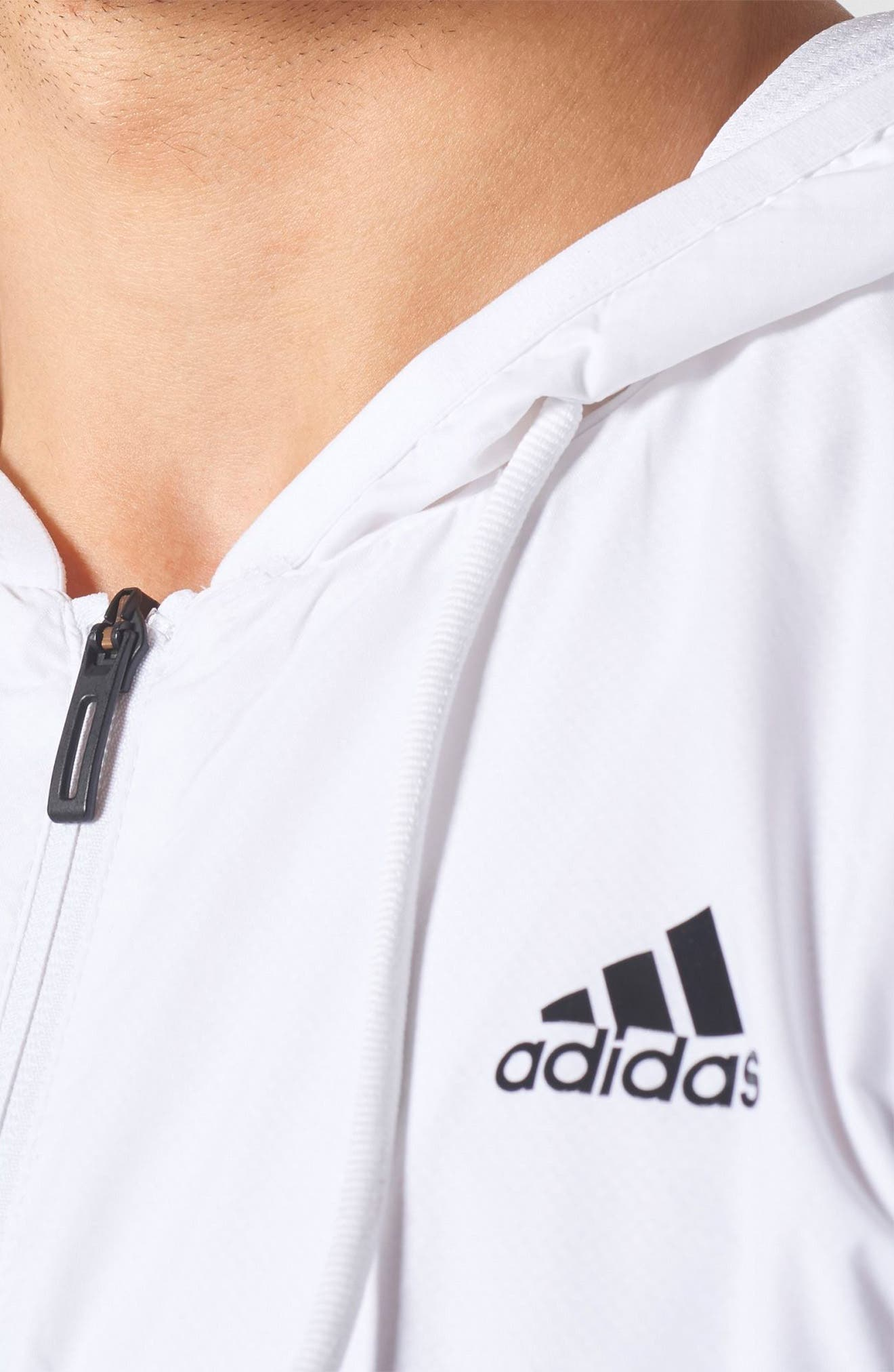 Essentials 3-Stripes Wind Zip Hoodie,                             Alternate thumbnail 4, color,                             White / White