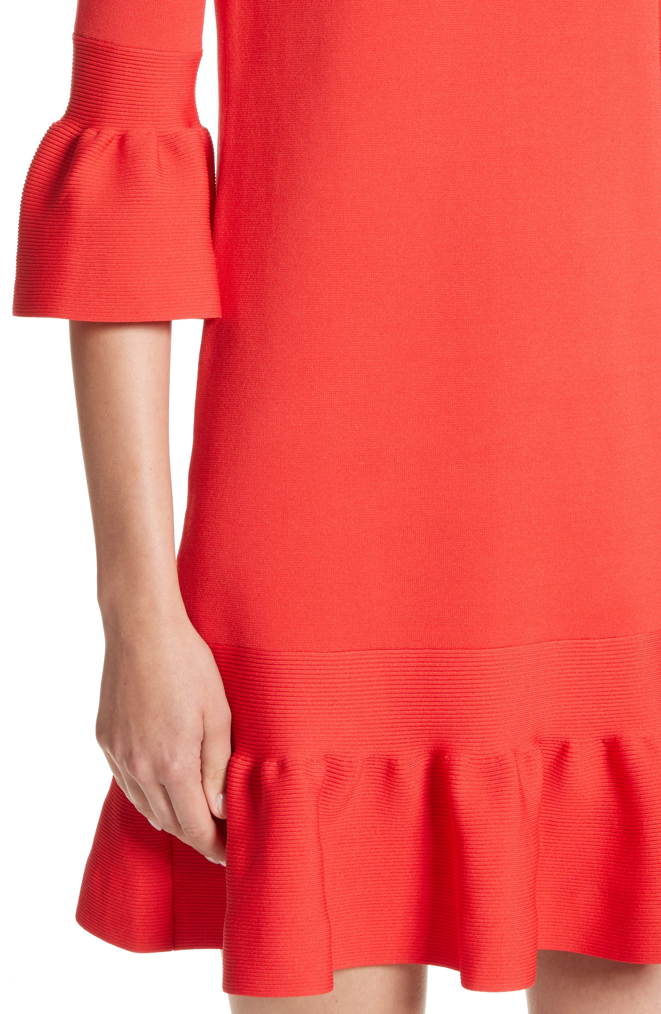 Tynia Peplum Ruffle Shift Dress,                             Alternate thumbnail 4, color,                             Bright Red