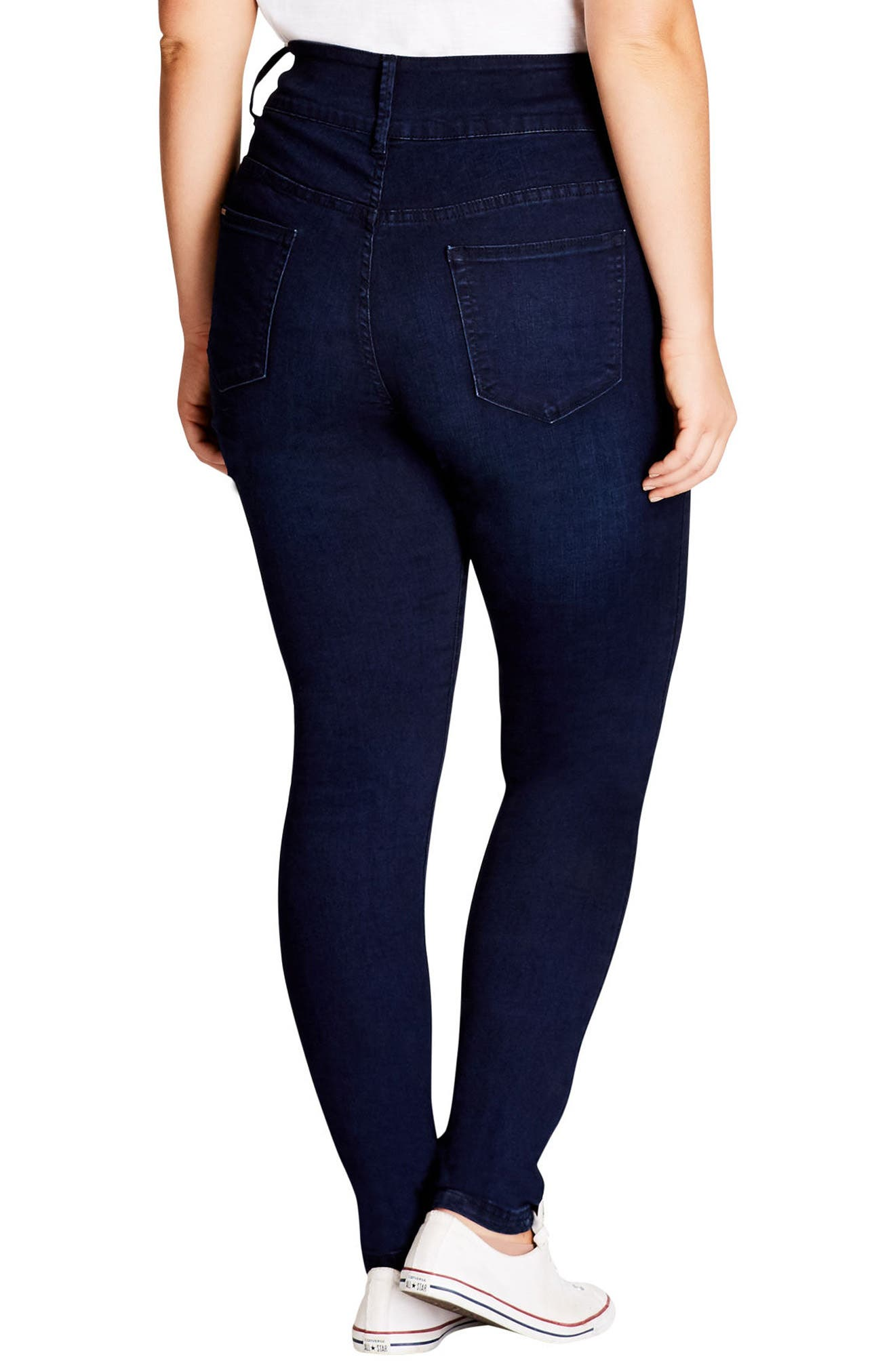Alternate Image 2  - City Chic Harley Ripped High Rise Skinny Jeans (Plus Size)