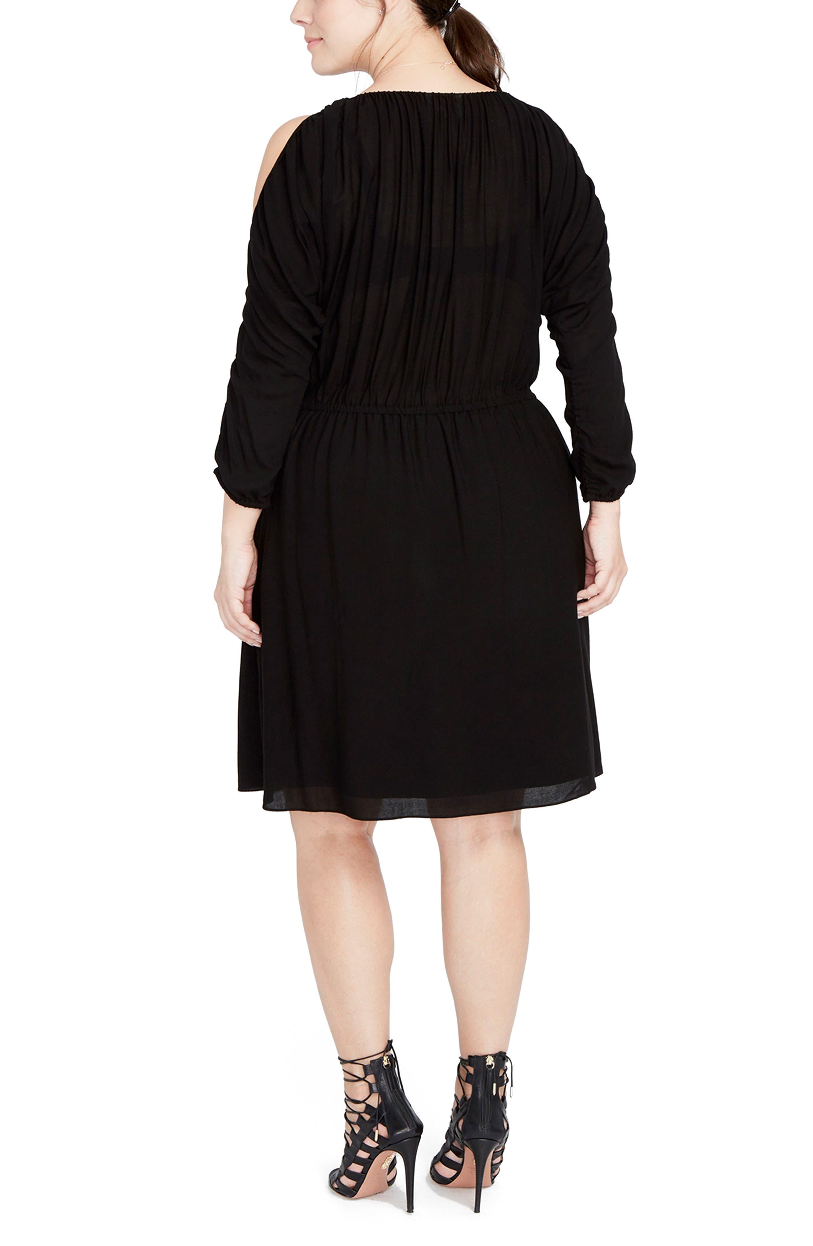 Ruched Cold Shoulder Dress,                             Alternate thumbnail 2, color,                             Black