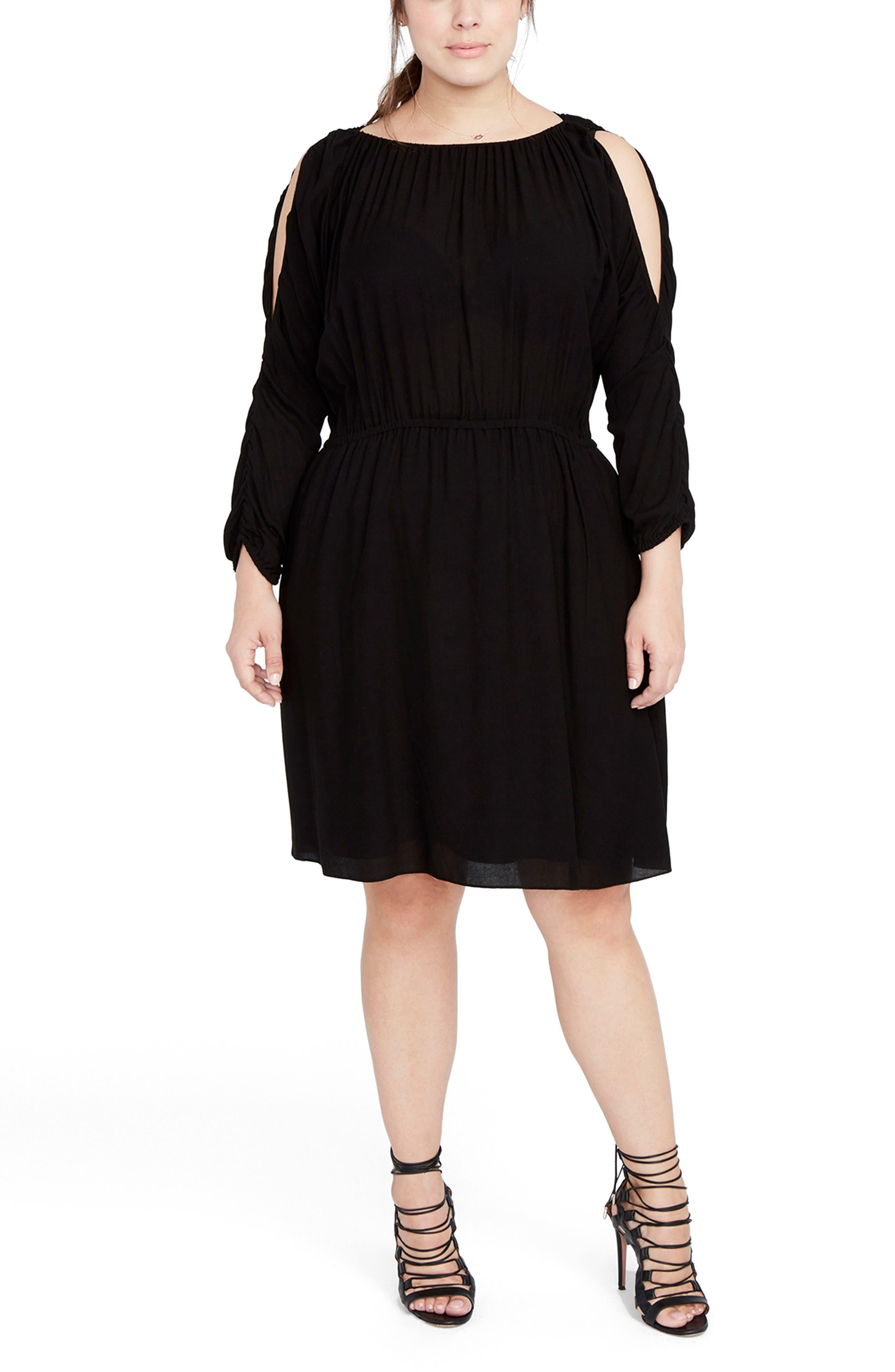 Ruched Cold Shoulder Dress,                             Main thumbnail 1, color,                             Black