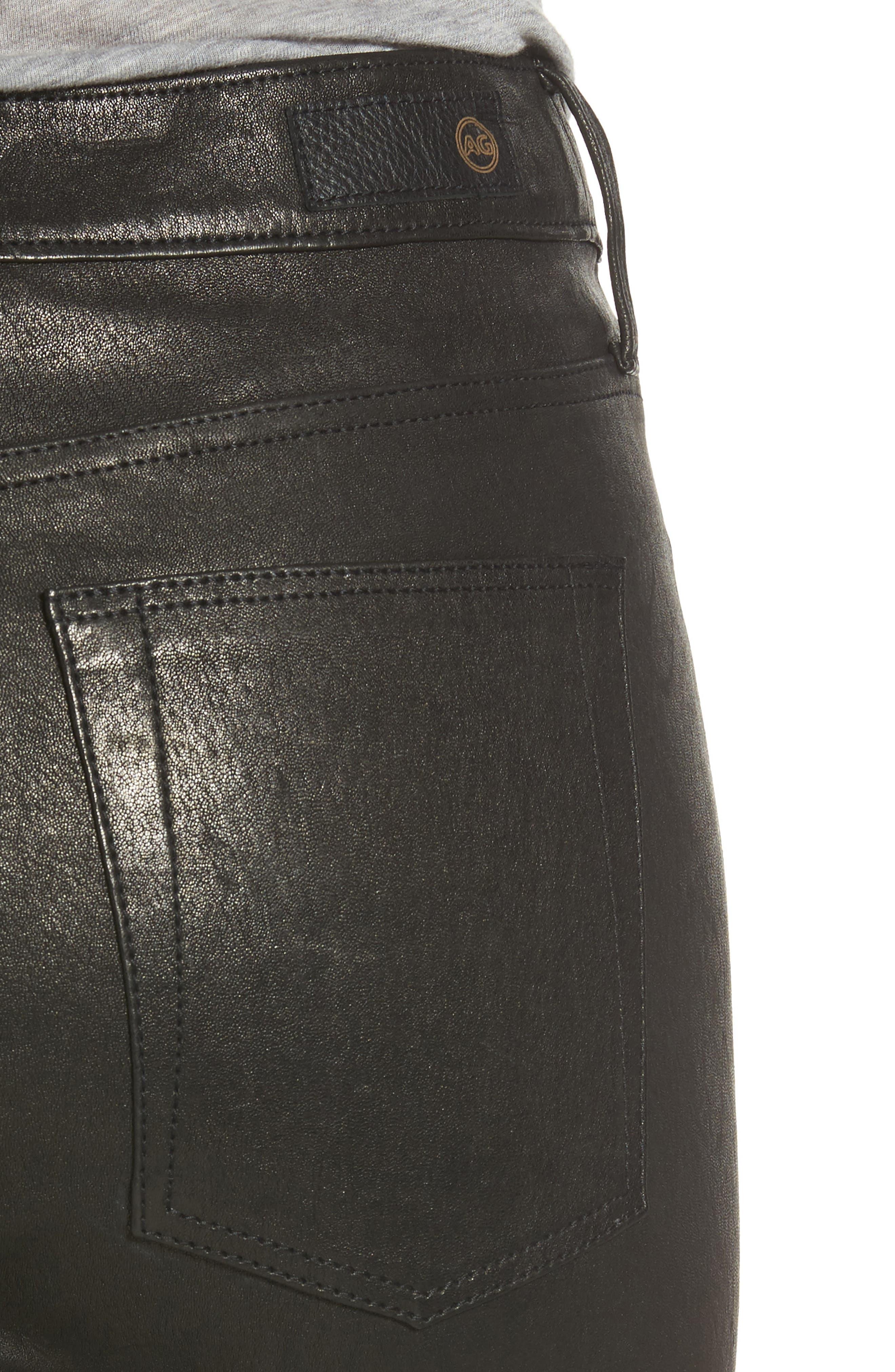 Alternate Image 4  - AG Farrah Leather Skinny Jeans