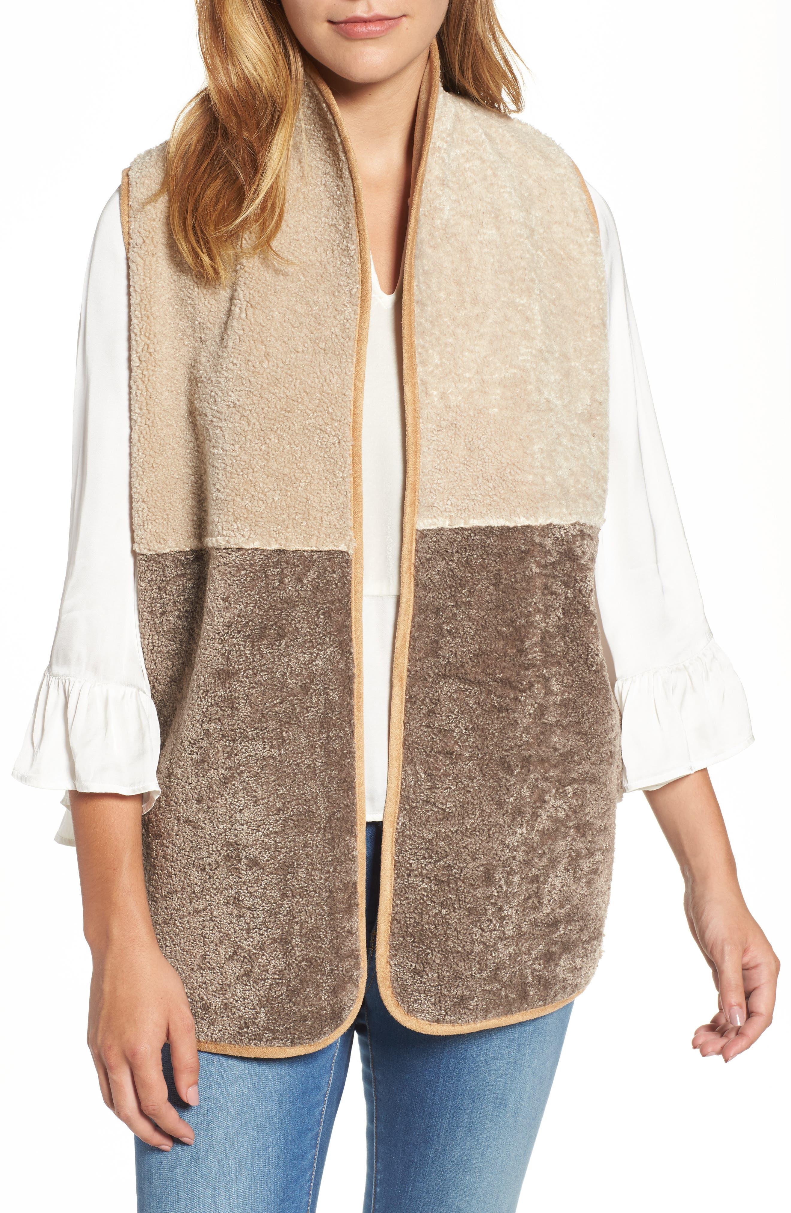 Reversible Faux Shearling Vest,                         Main,                         color, Multi