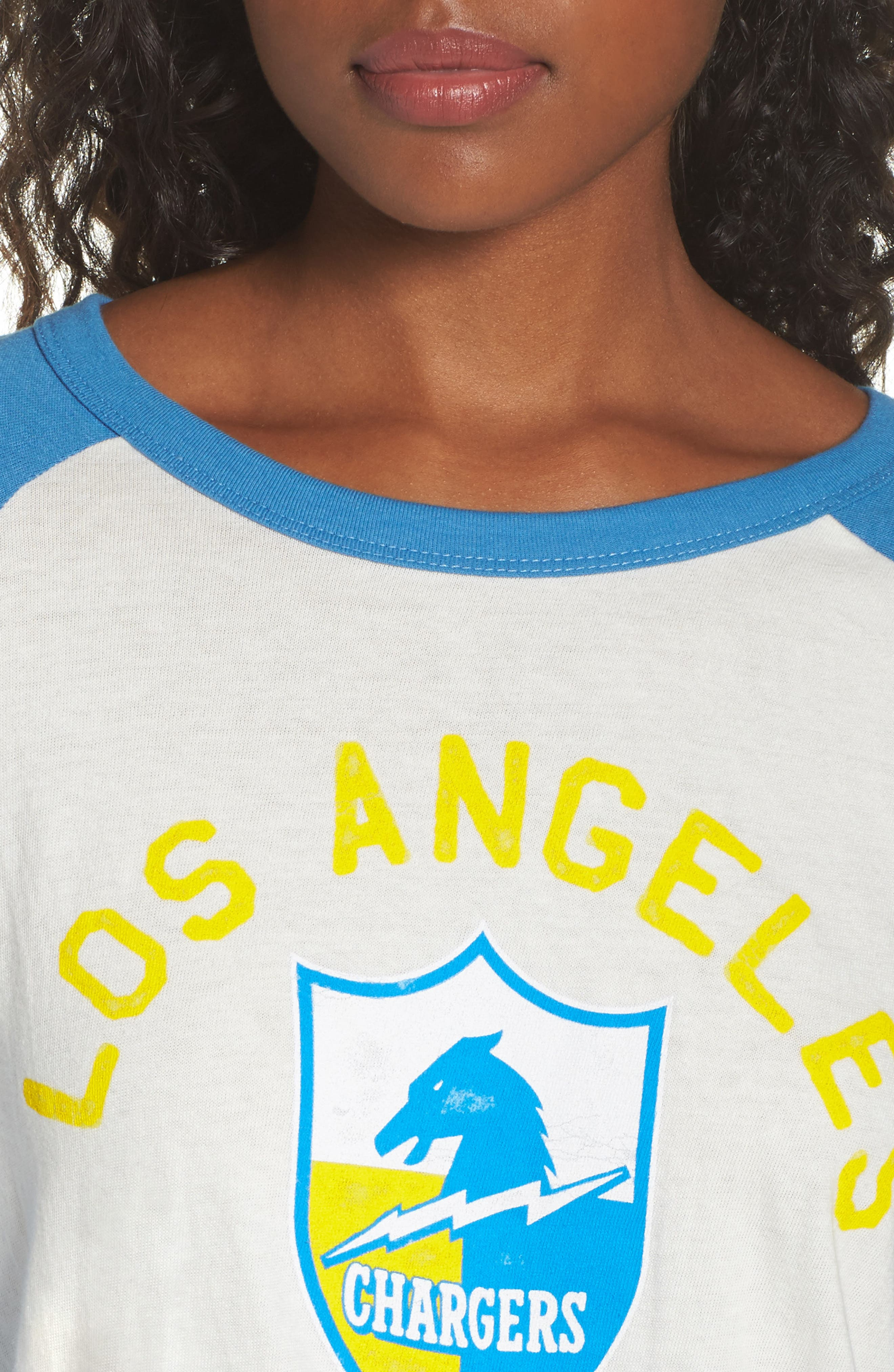 NFL Los Angeles Chargers Raglan Tee,                             Alternate thumbnail 4, color,                             Sugar/ Blueberry