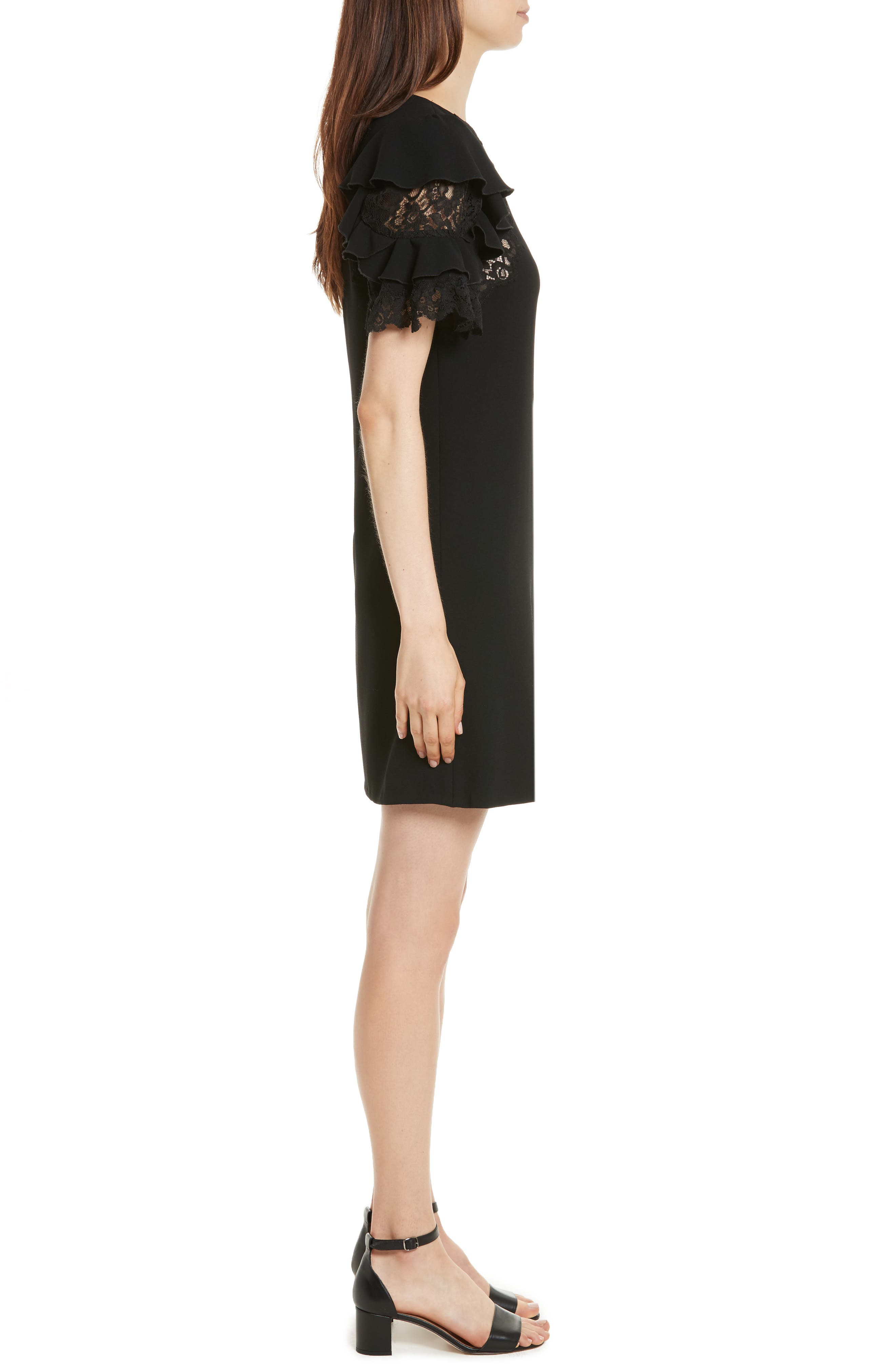 Ruffle Sleeve Lace Sheath Dress,                             Alternate thumbnail 3, color,                             Black