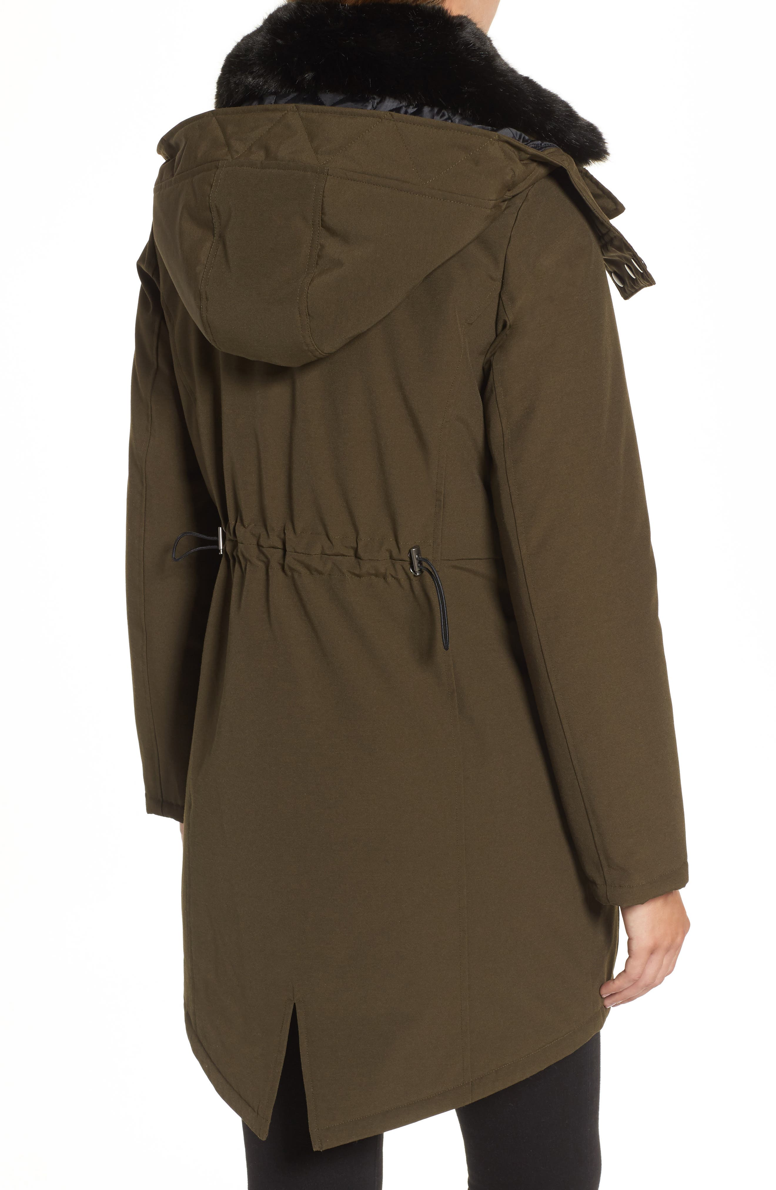Hooded Anorak with Detachable Faux Fur Collar,                             Alternate thumbnail 2, color,                             Russian Pine
