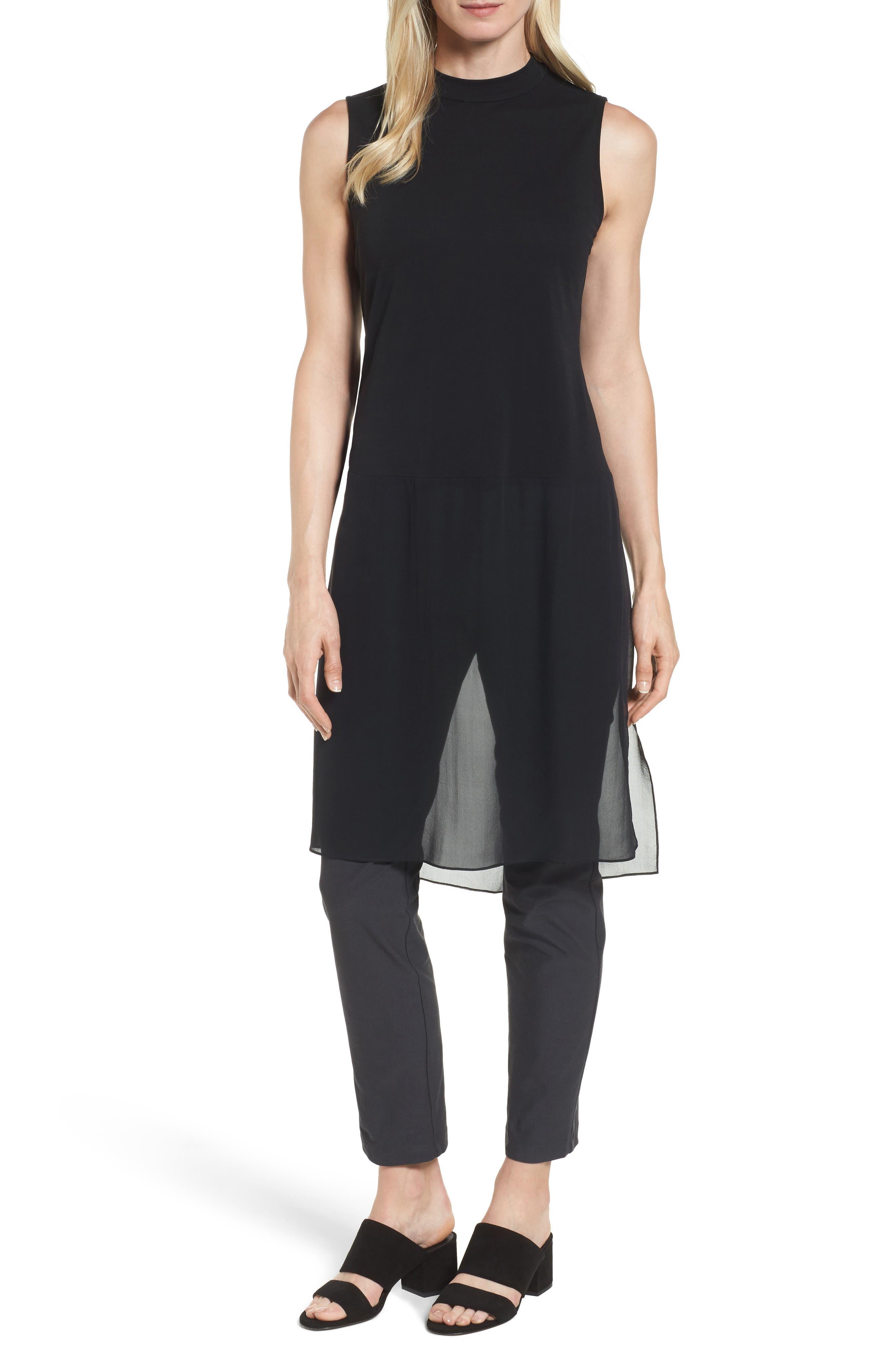 Eileen Fisher Silk Jersey & Chiffon Tunic