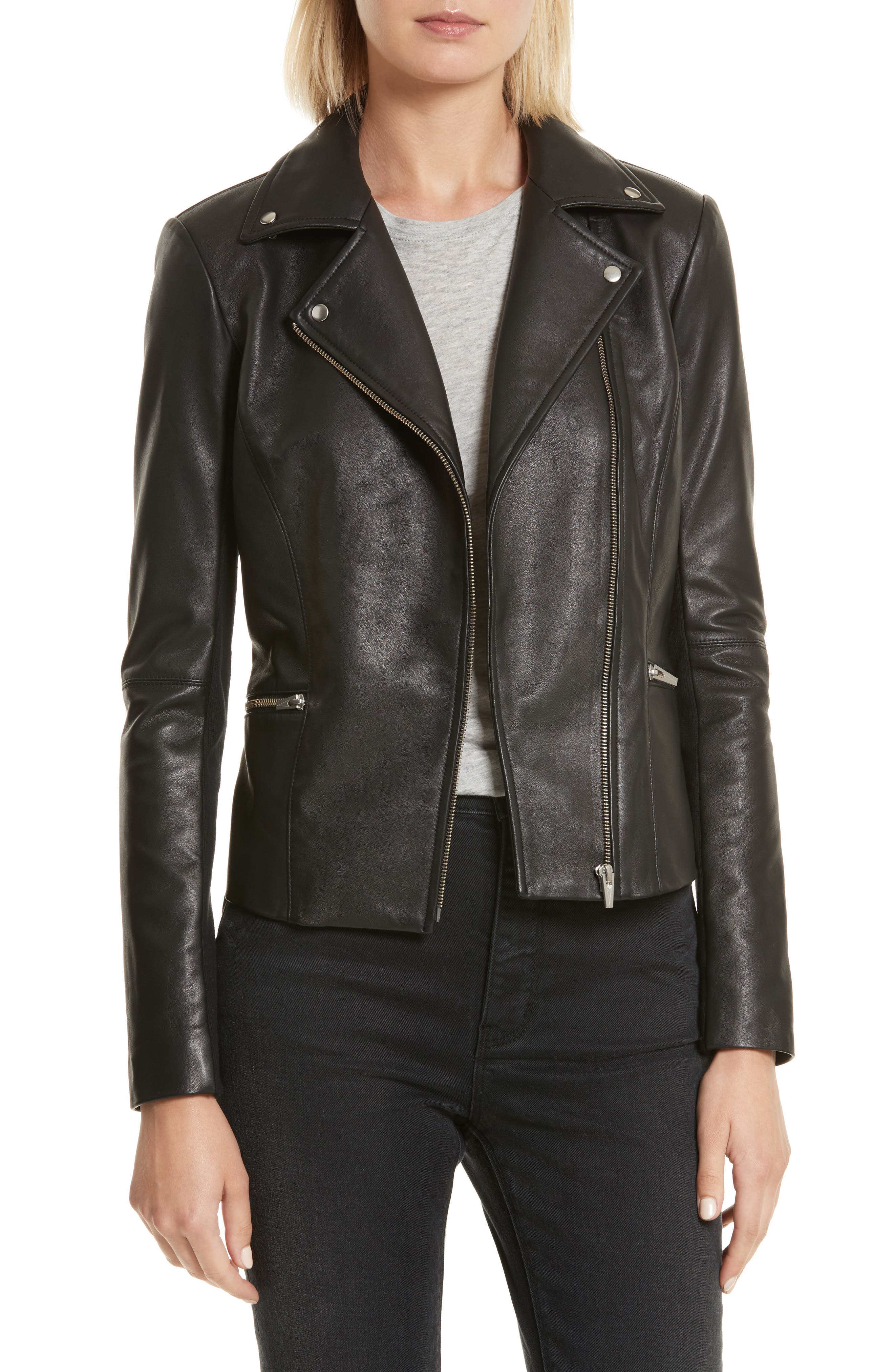 Dallas Orion Lambskin Leather Jacket,                         Main,                         color, Black