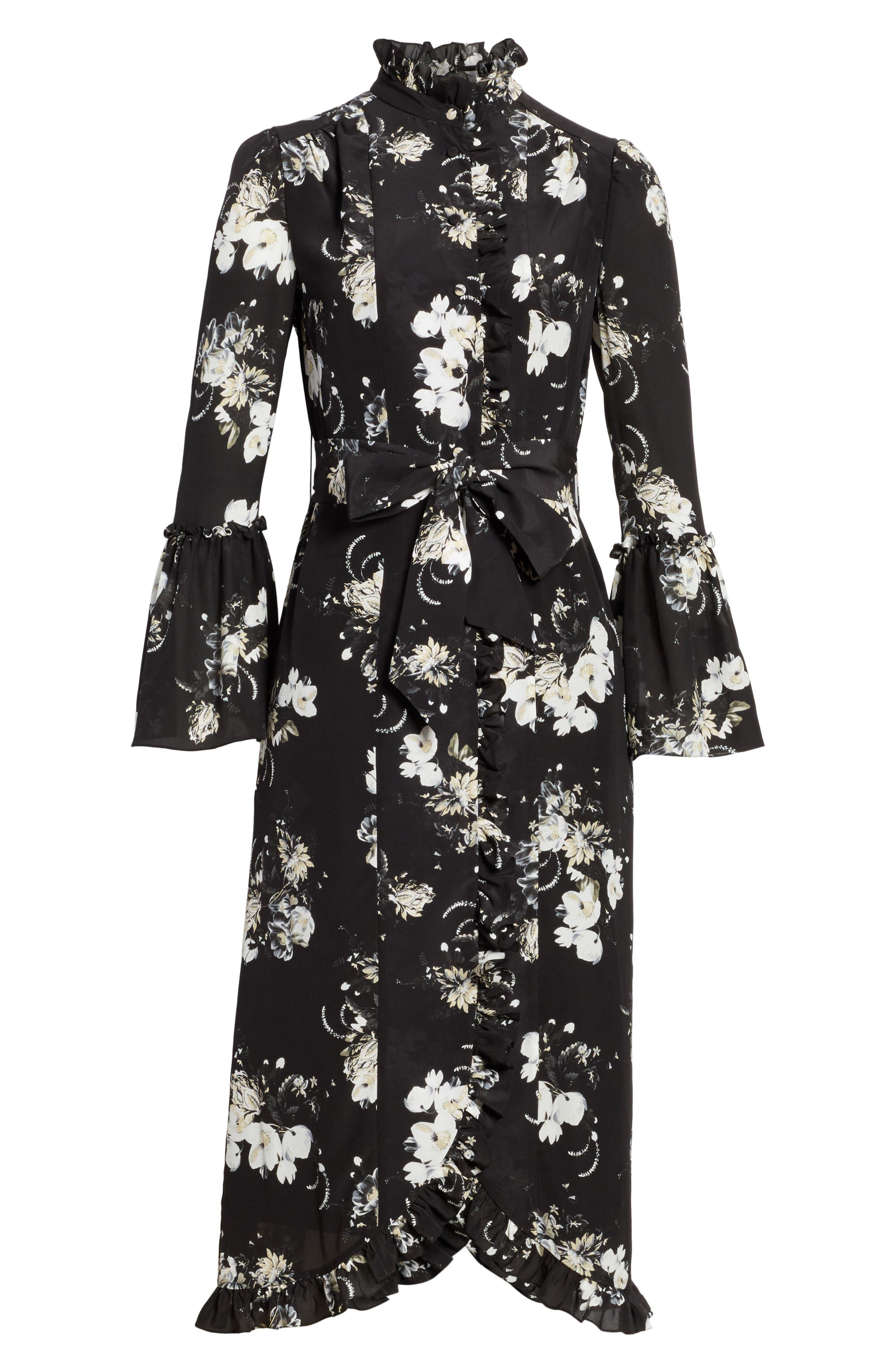 Alternate Image 6  - Erdem Floral Silk Ruffle Dress