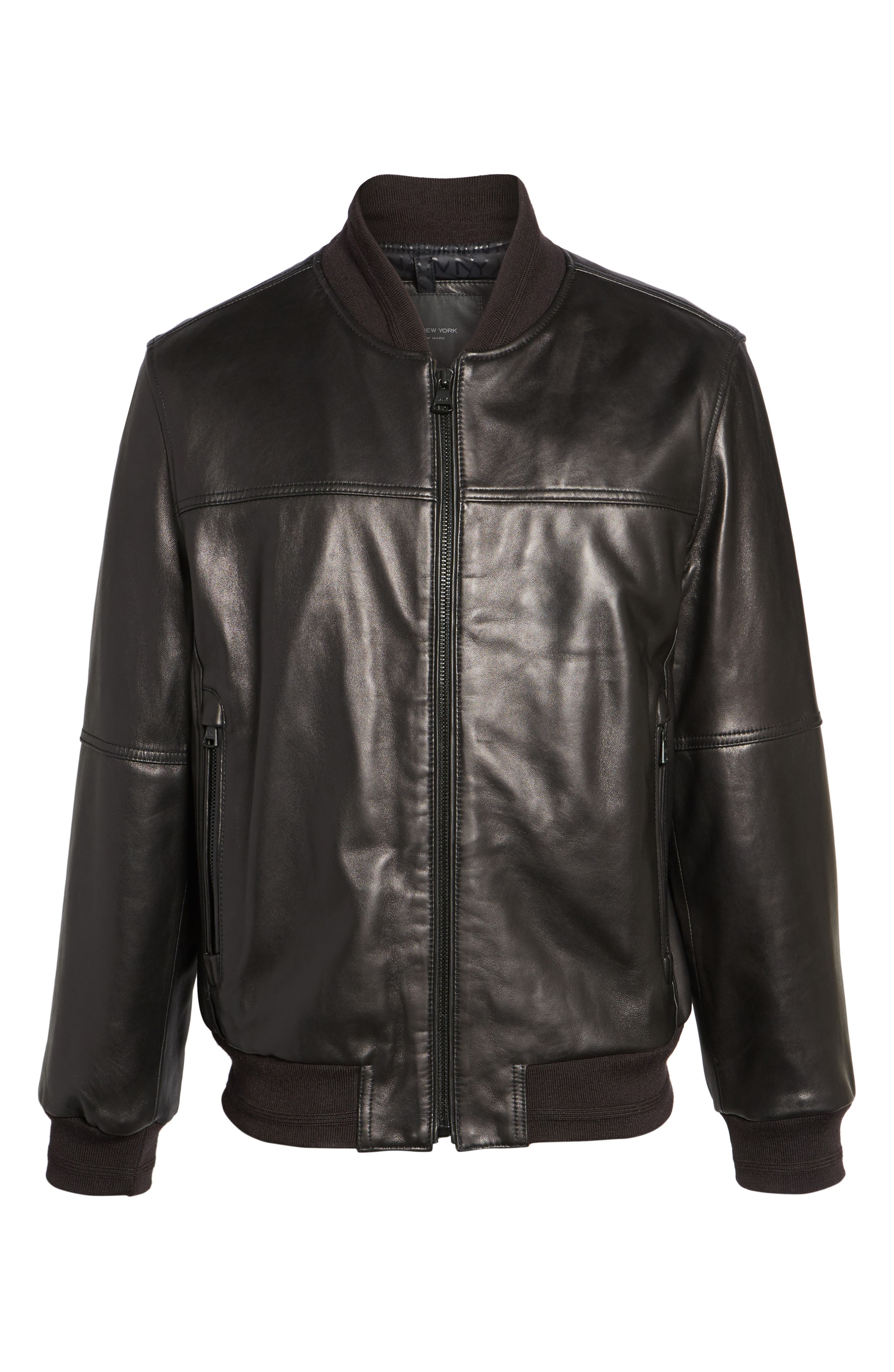 Summit Leather Bomber Jacket,                             Alternate thumbnail 5, color,                             Black