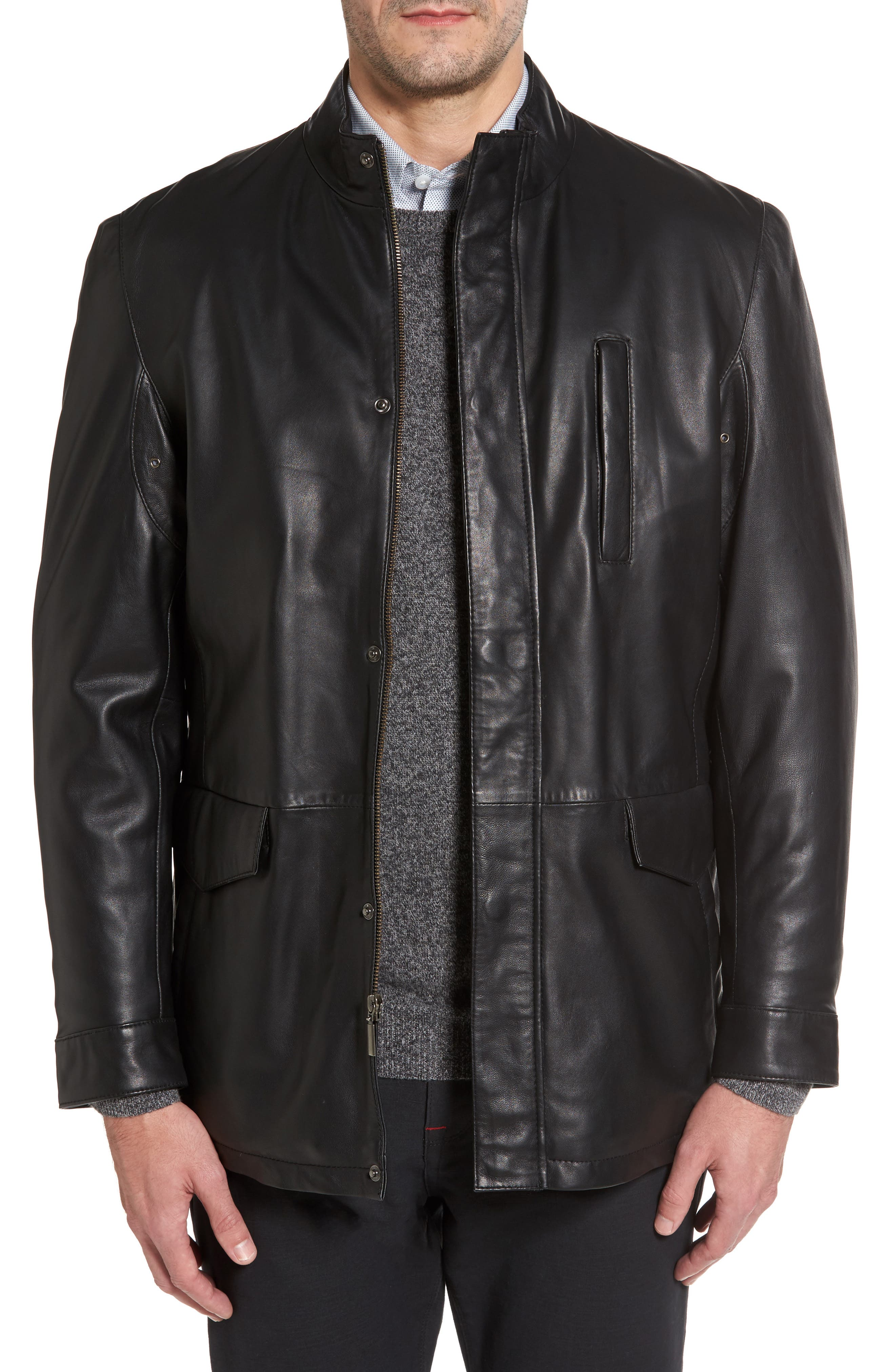 Field Leather Jacket,                         Main,                         color, Black