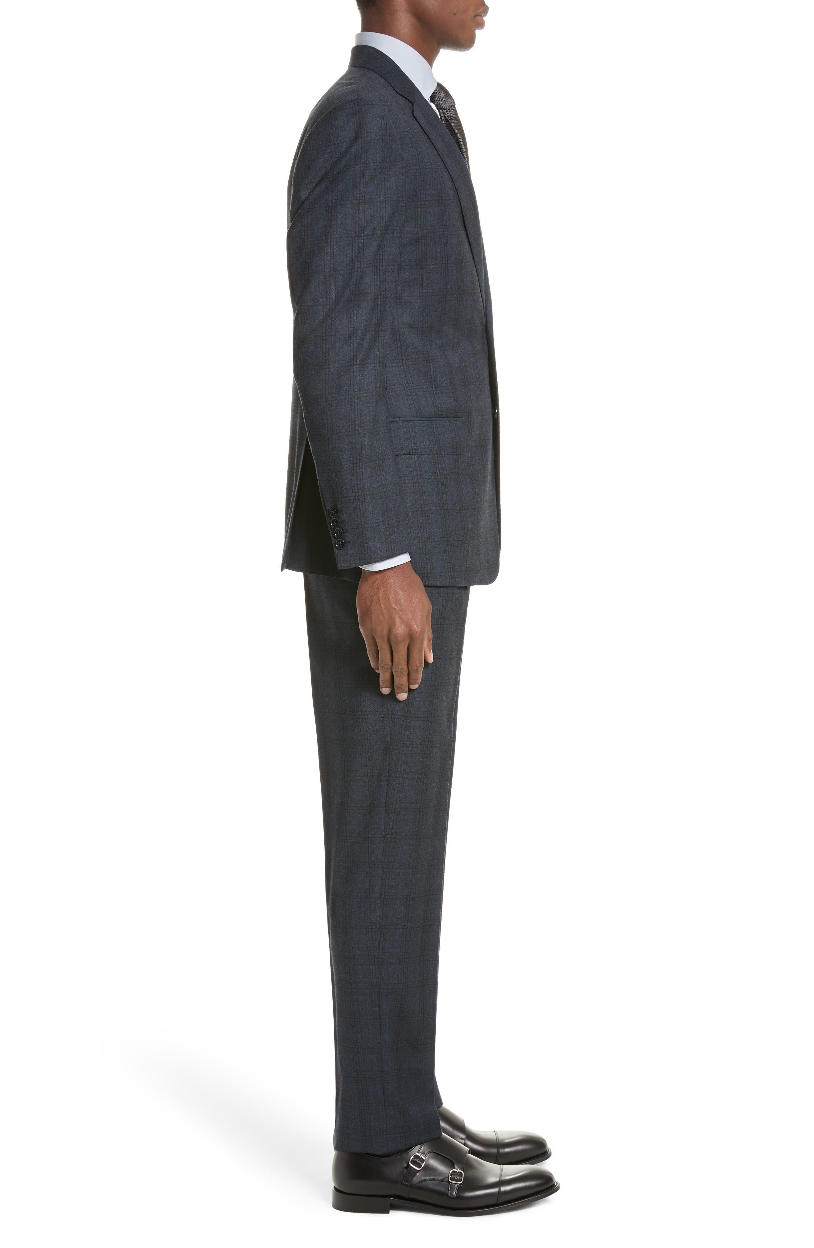 G-Line Trim Fit Plaid Wool Suit,                             Alternate thumbnail 3, color,                             Navy