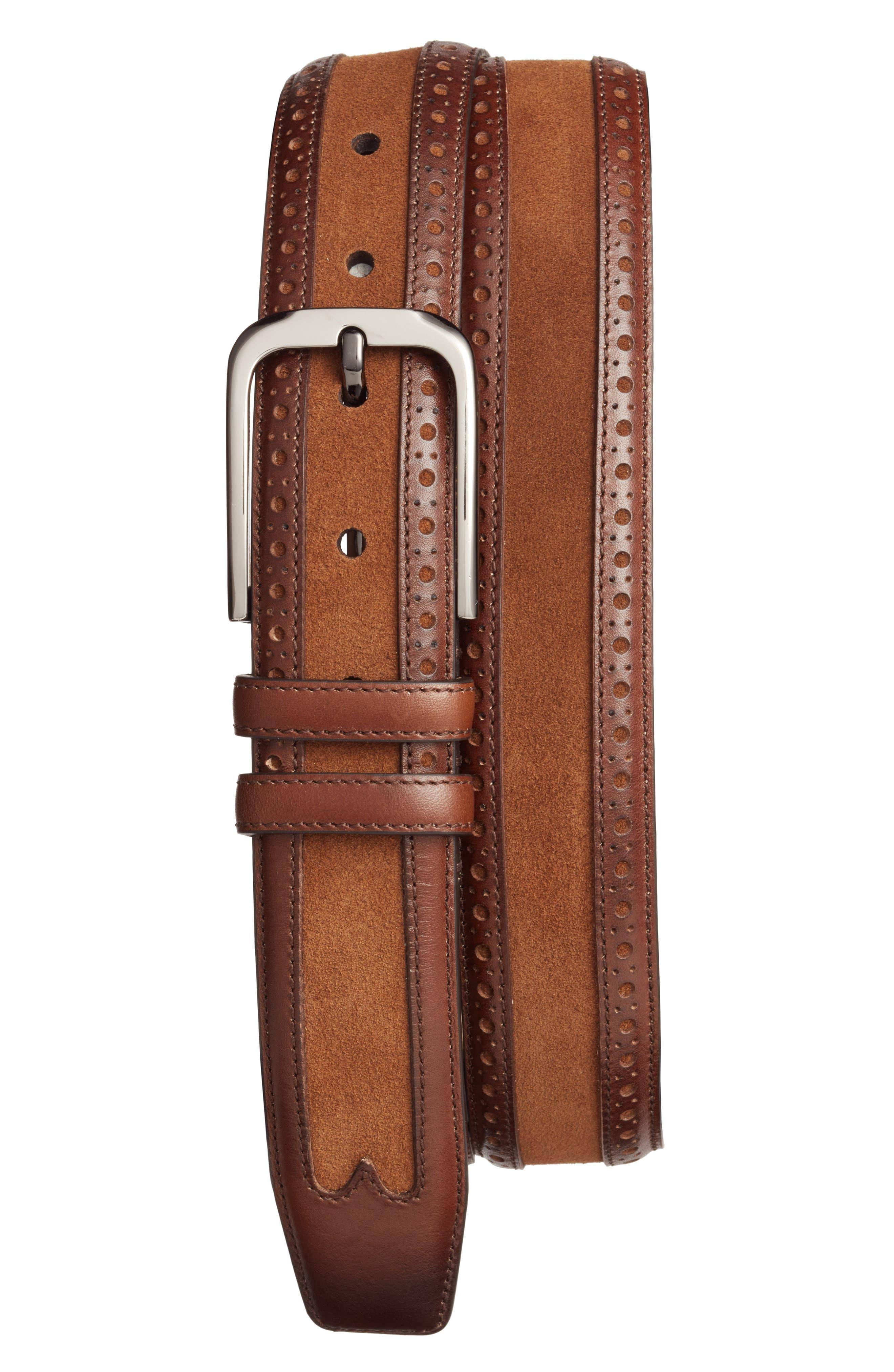 Fuju Suede & Leather Belt,                             Main thumbnail 1, color,                             Cognac