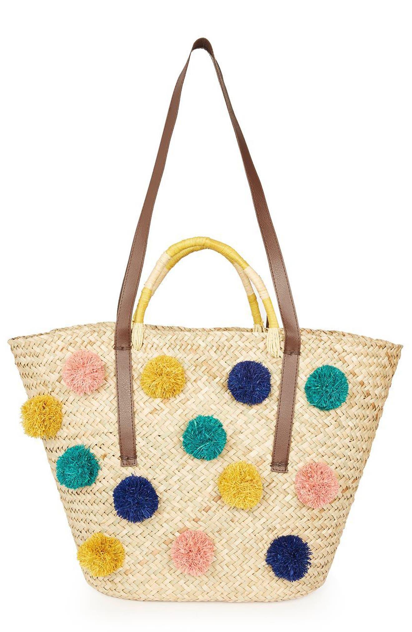 Pompom Straw Tote Bag,                         Main,                         color, Nude