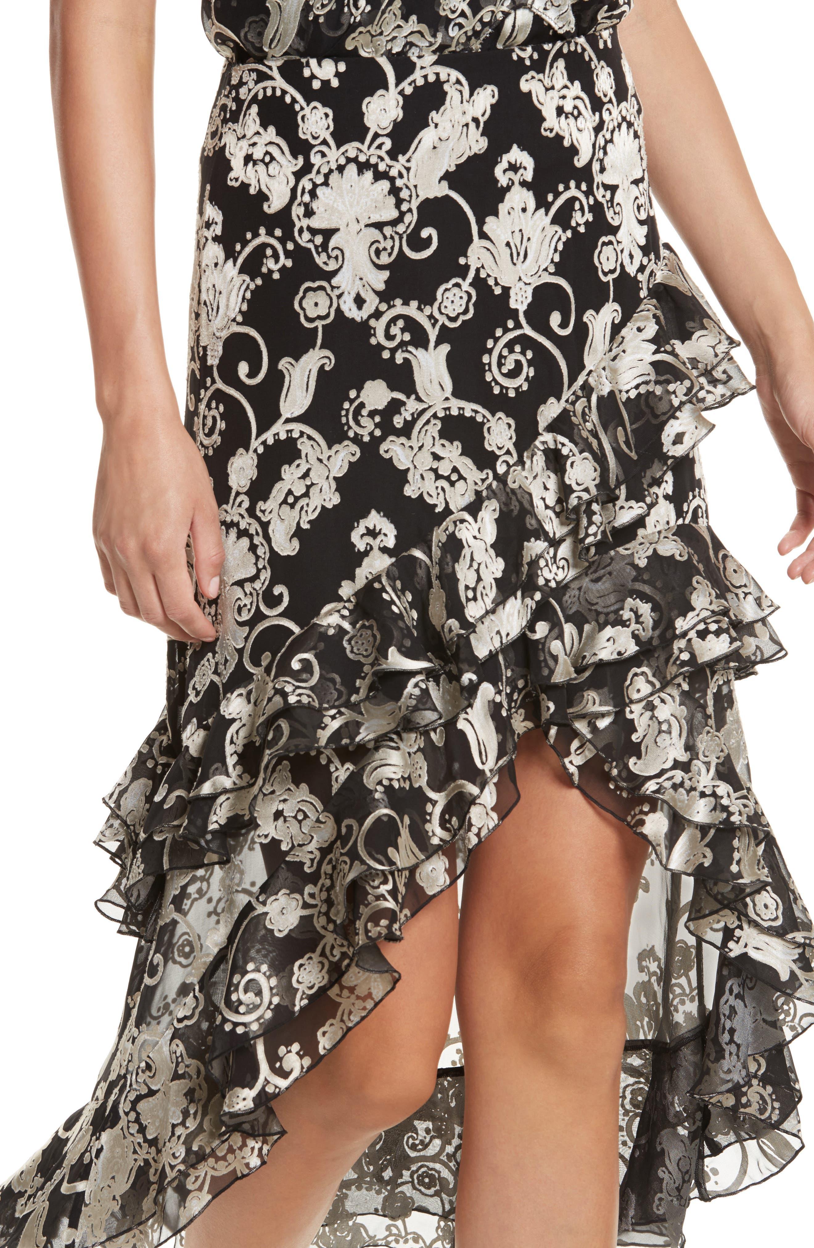 Sasha Asymmetrical Tiered Ruffle Skirt,                             Alternate thumbnail 5, color,                             Black/ White