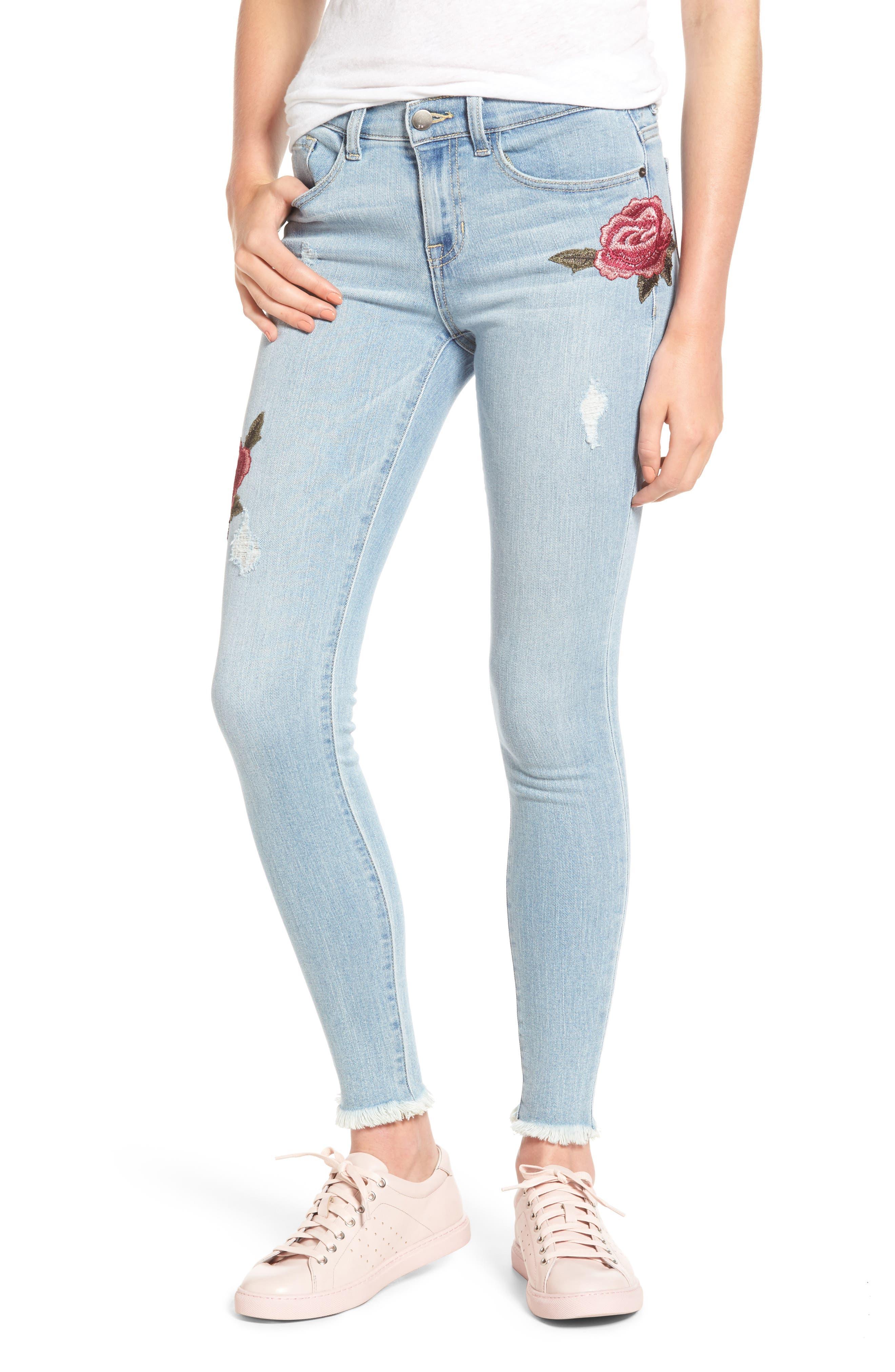 SP Black Floral Embroidered Skinny Jeans