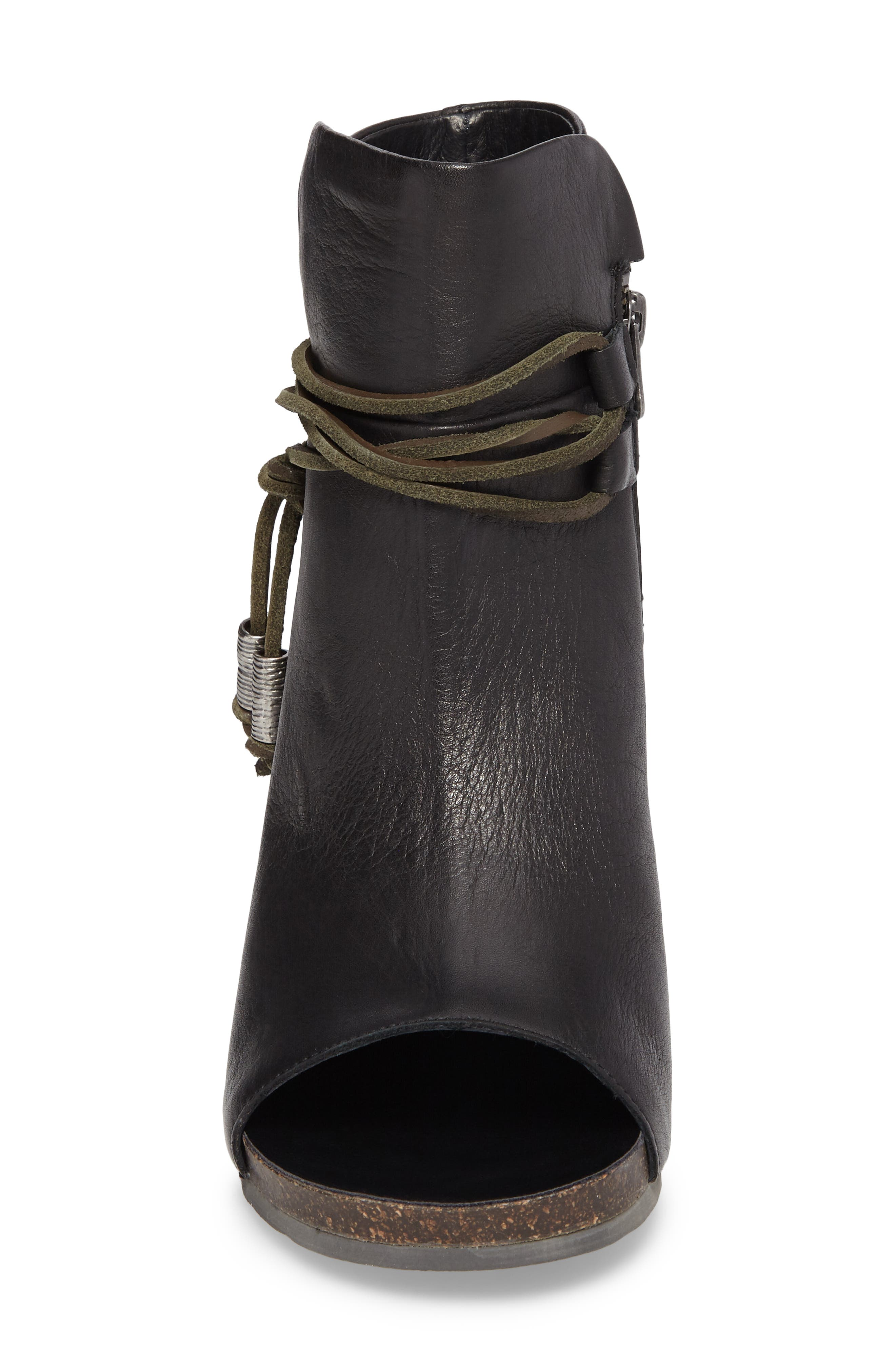 Open Toe Bootie,                             Alternate thumbnail 4, color,                             Black Leather