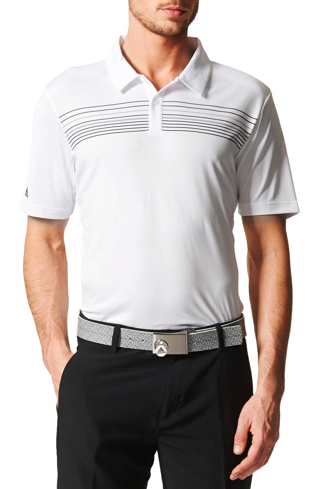 Main Image - adidas Chest Stripe Golf Polo