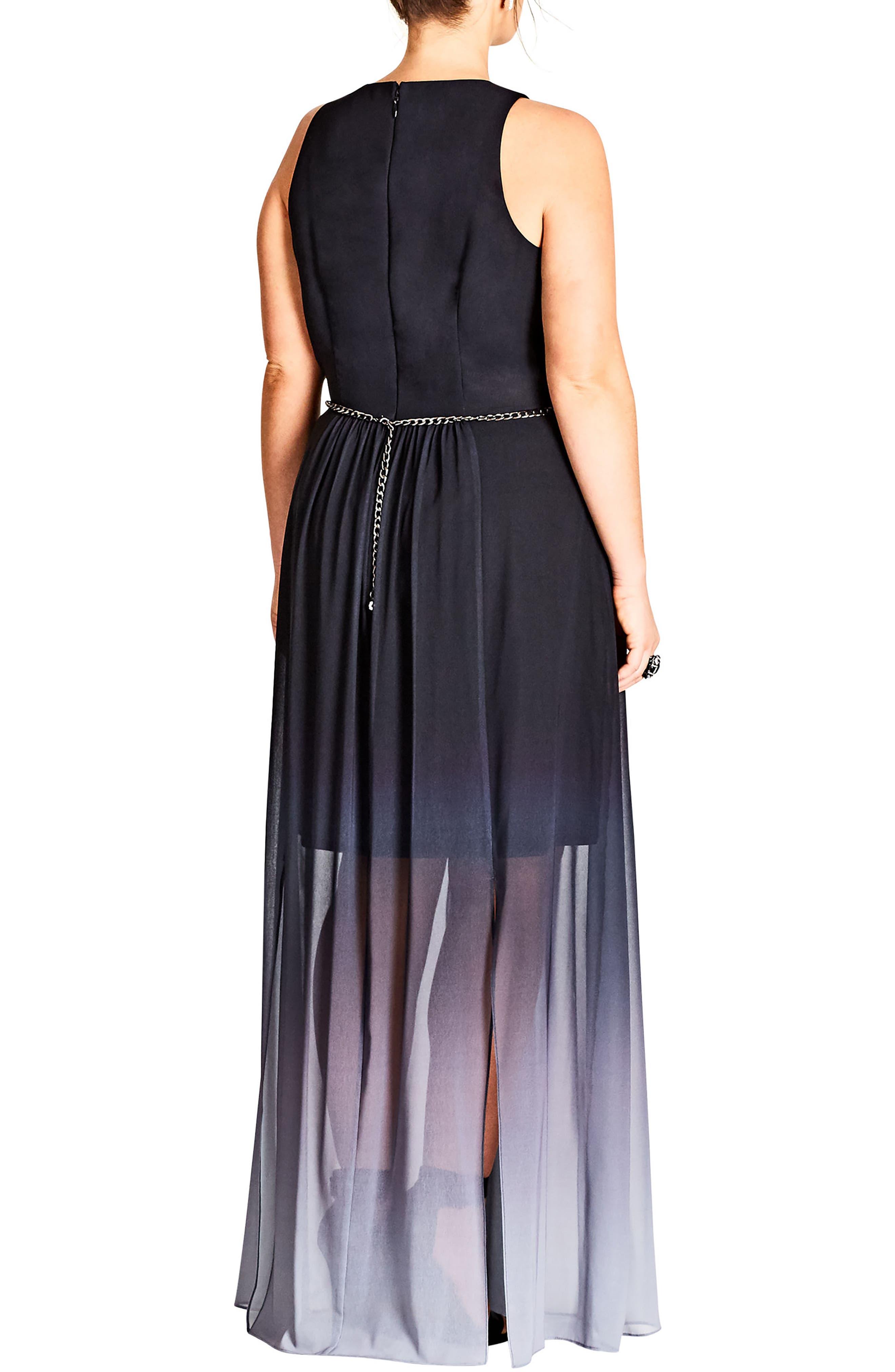 Alternate Image 2  - City Chic Statement Ombré Maxi Dress (Plus Size)
