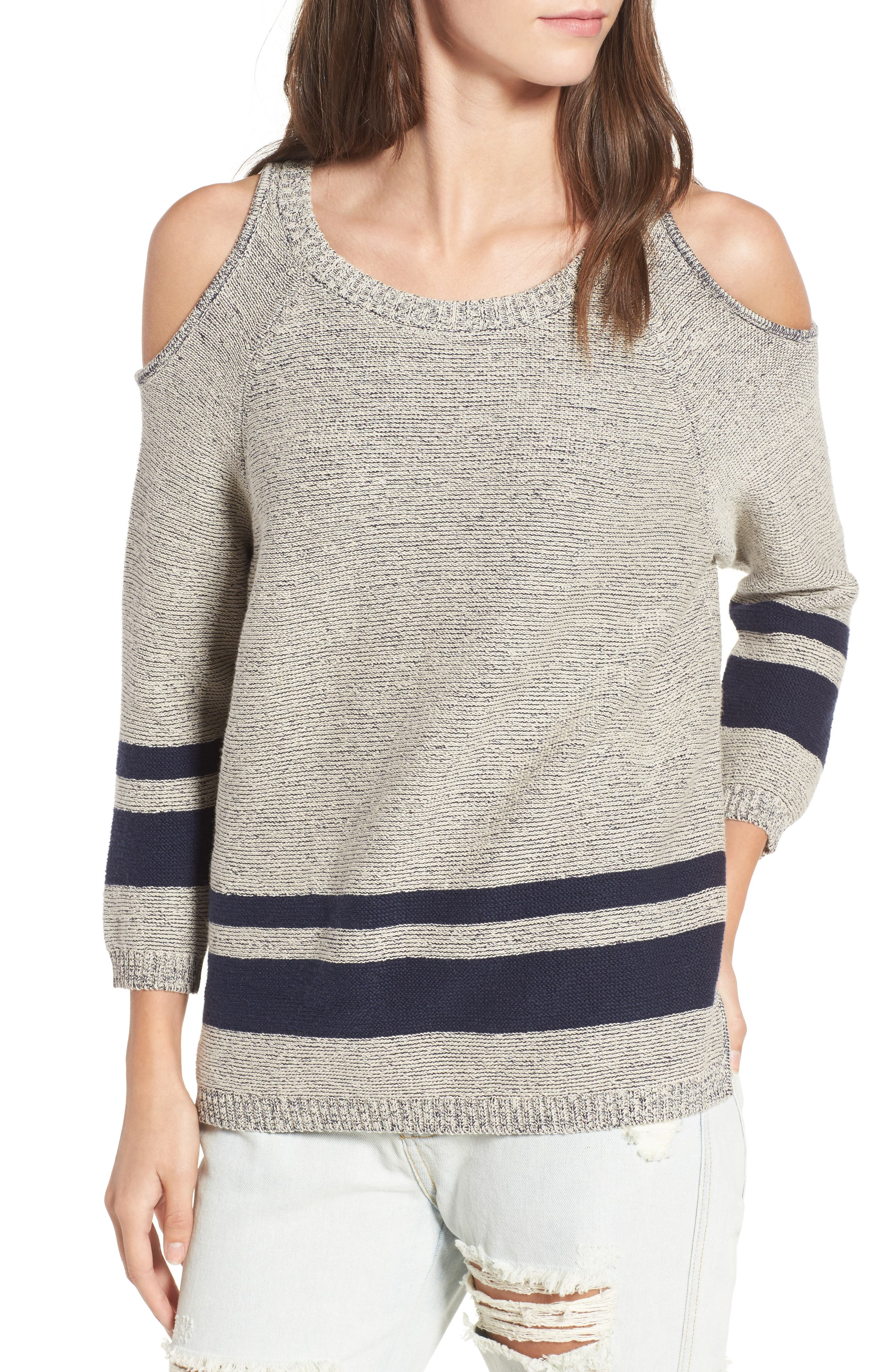 Alternate Image 1 Selected - RVCA Marked Cold Shoulder Sweater