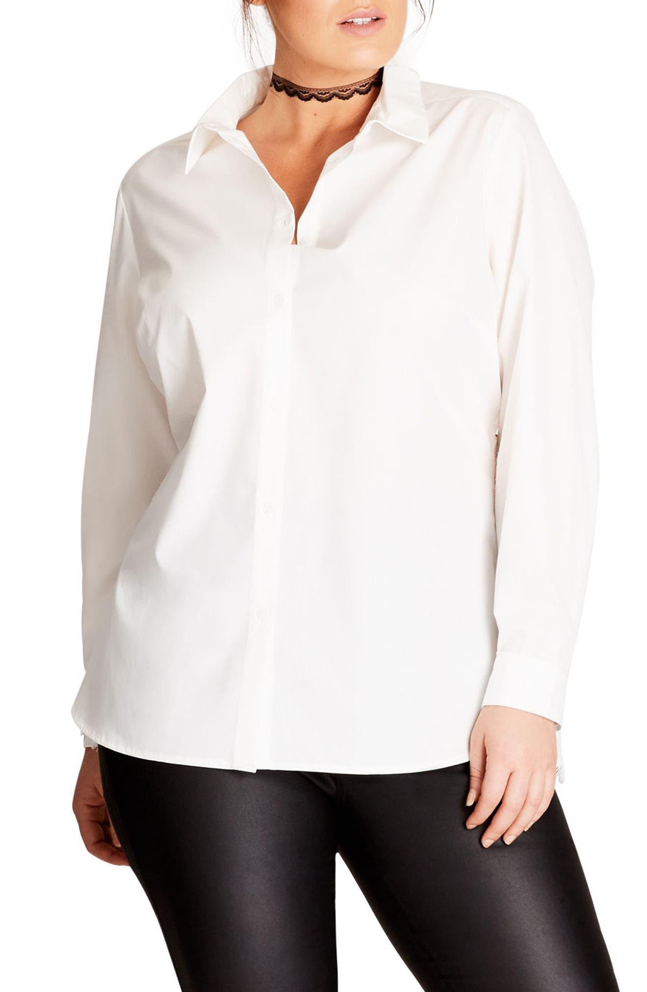 Alternate Image 1 Selected - City Chic Crisp Lace Back Shirt (Plus Size)