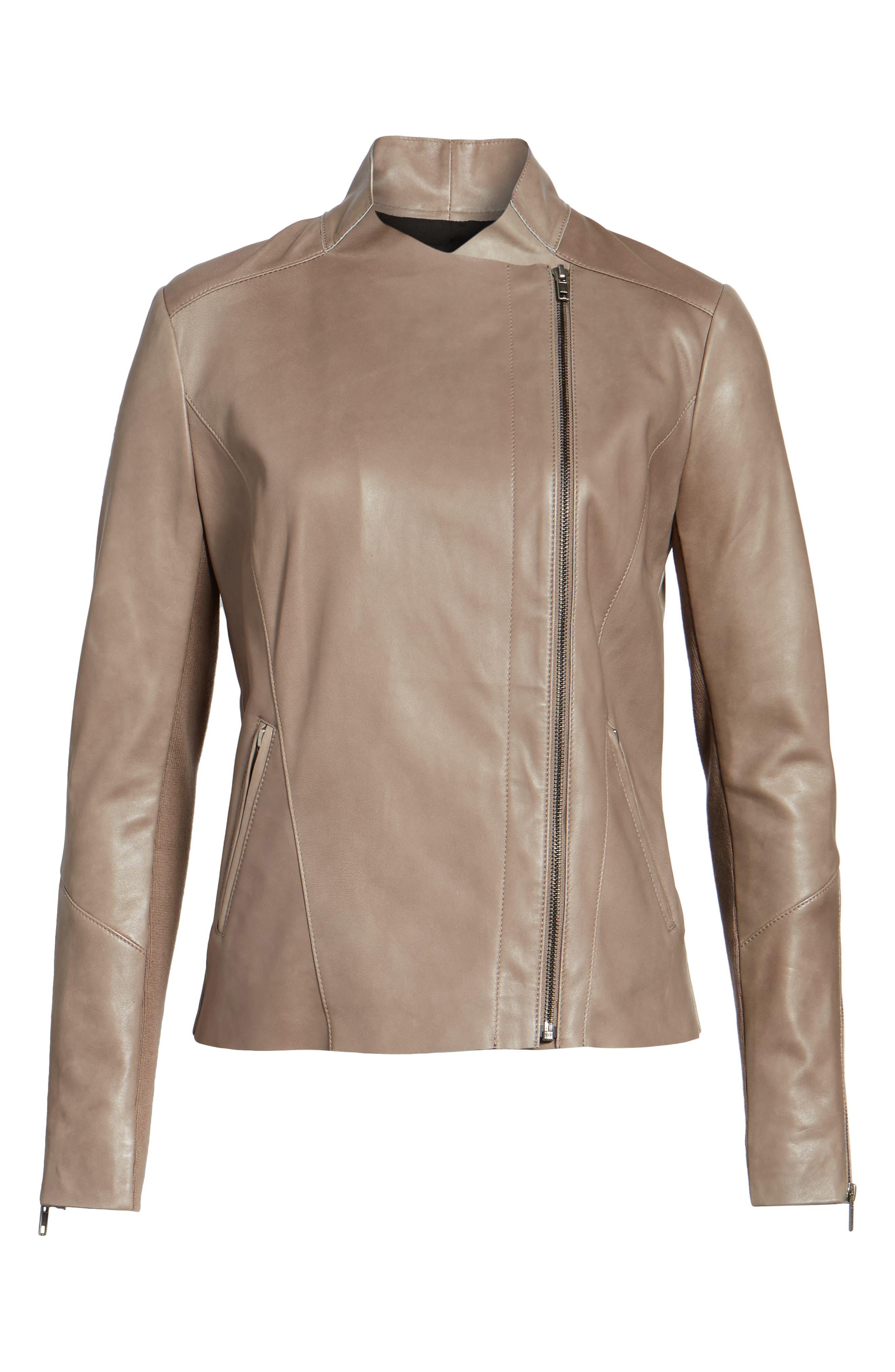 Asymmetrical Leather Jacket,                             Alternate thumbnail 5, color,                             Taupe Dusk