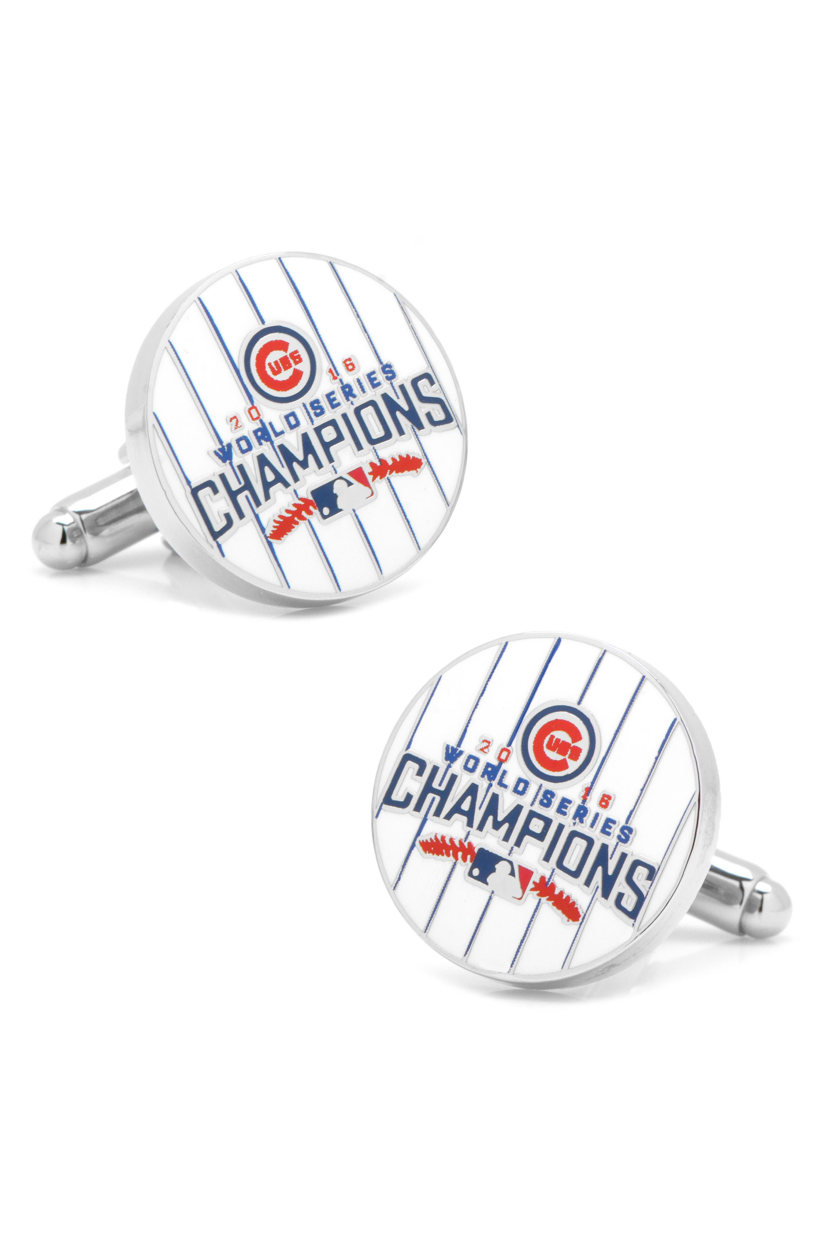 Chicago Cubs World Series Cuff Links,                         Main,                         color, Silver Multi
