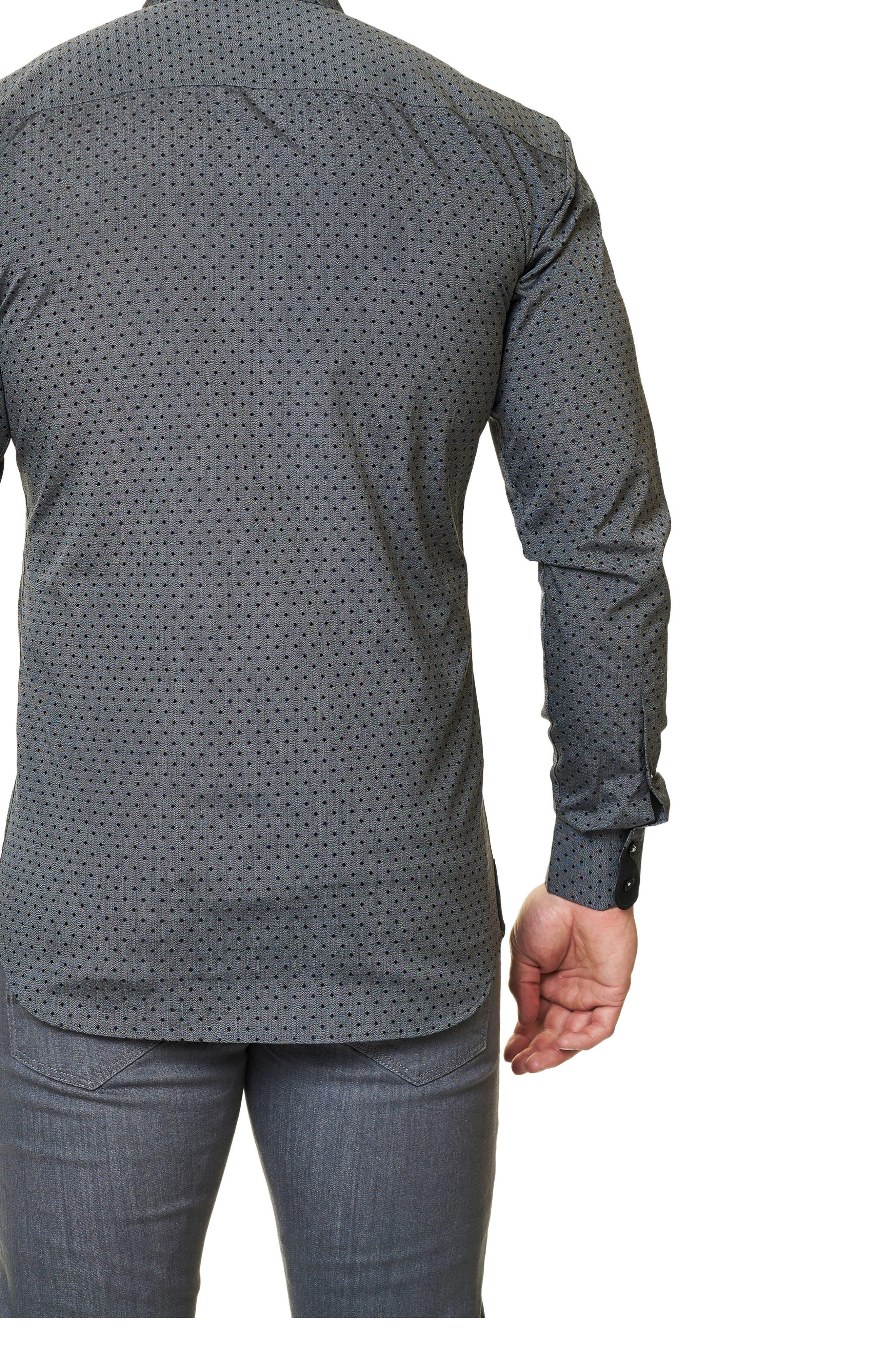 Trim Fit Dot Print Sport Shirt,                             Alternate thumbnail 2, color,                             Black