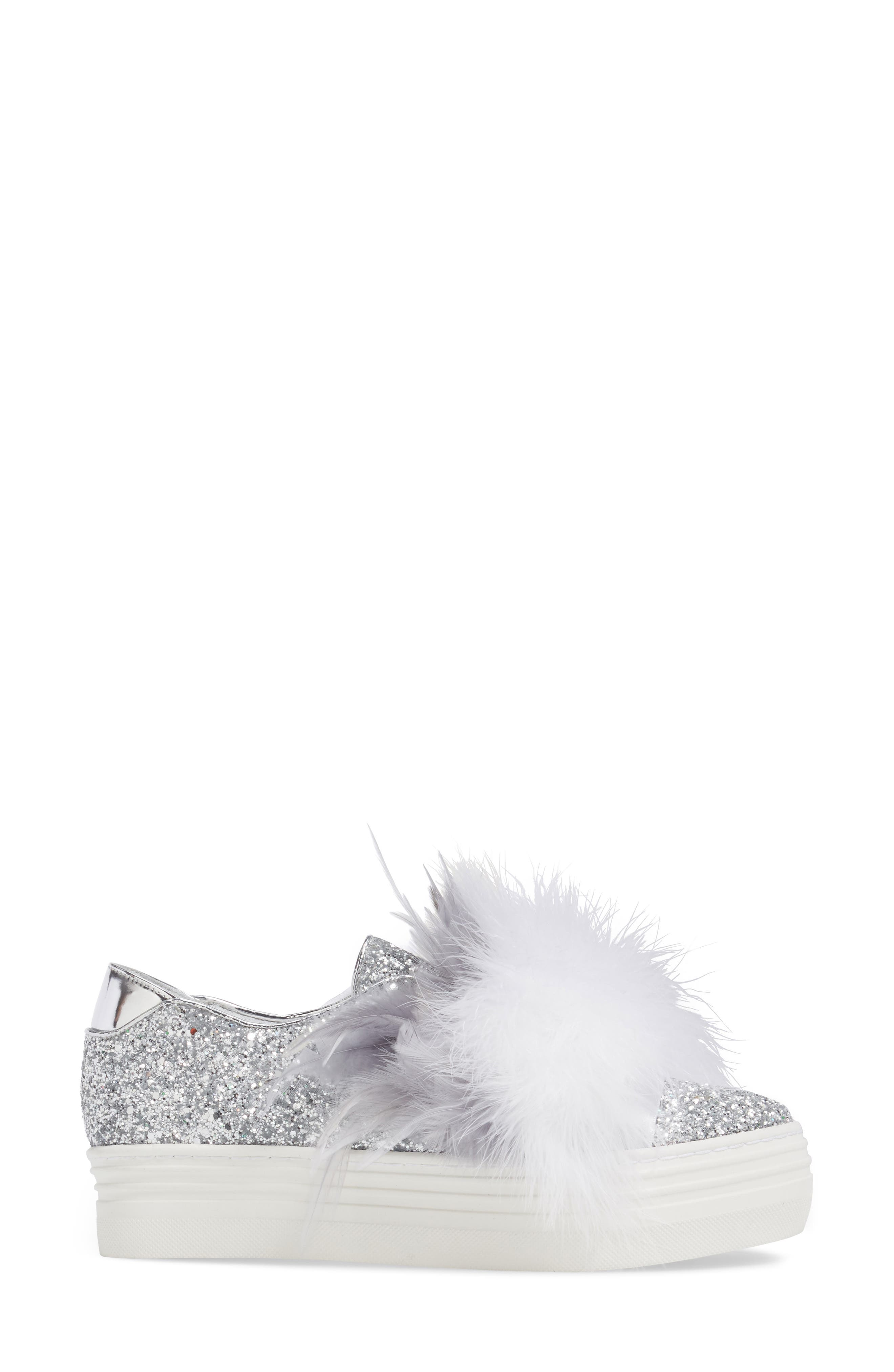 Kate Feathered Slip-On Sneaker,                             Alternate thumbnail 3, color,                             Grey Feather Silver Glitter