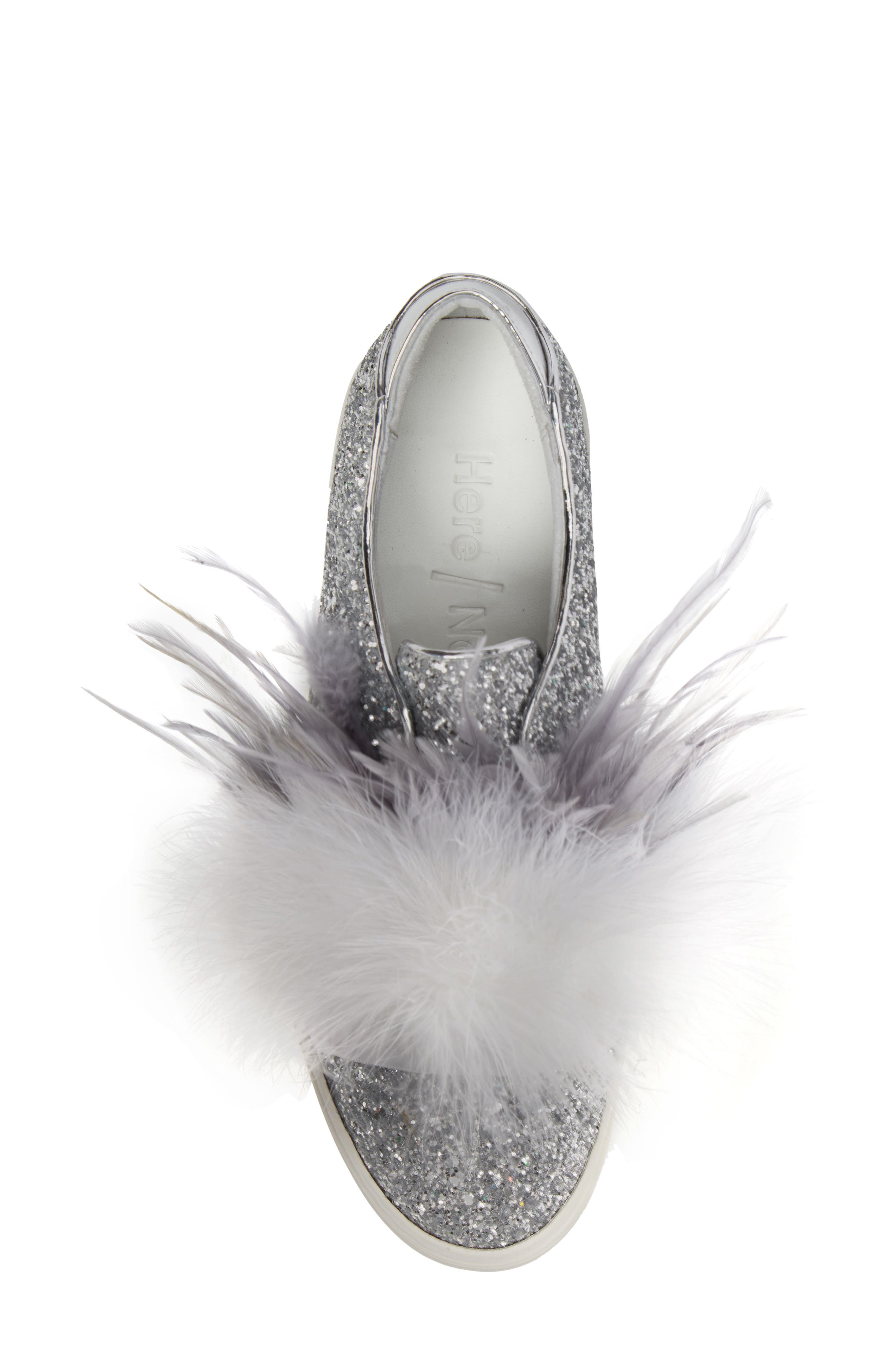 Kate Feathered Slip-On Sneaker,                             Alternate thumbnail 5, color,                             Grey Feather Silver Glitter
