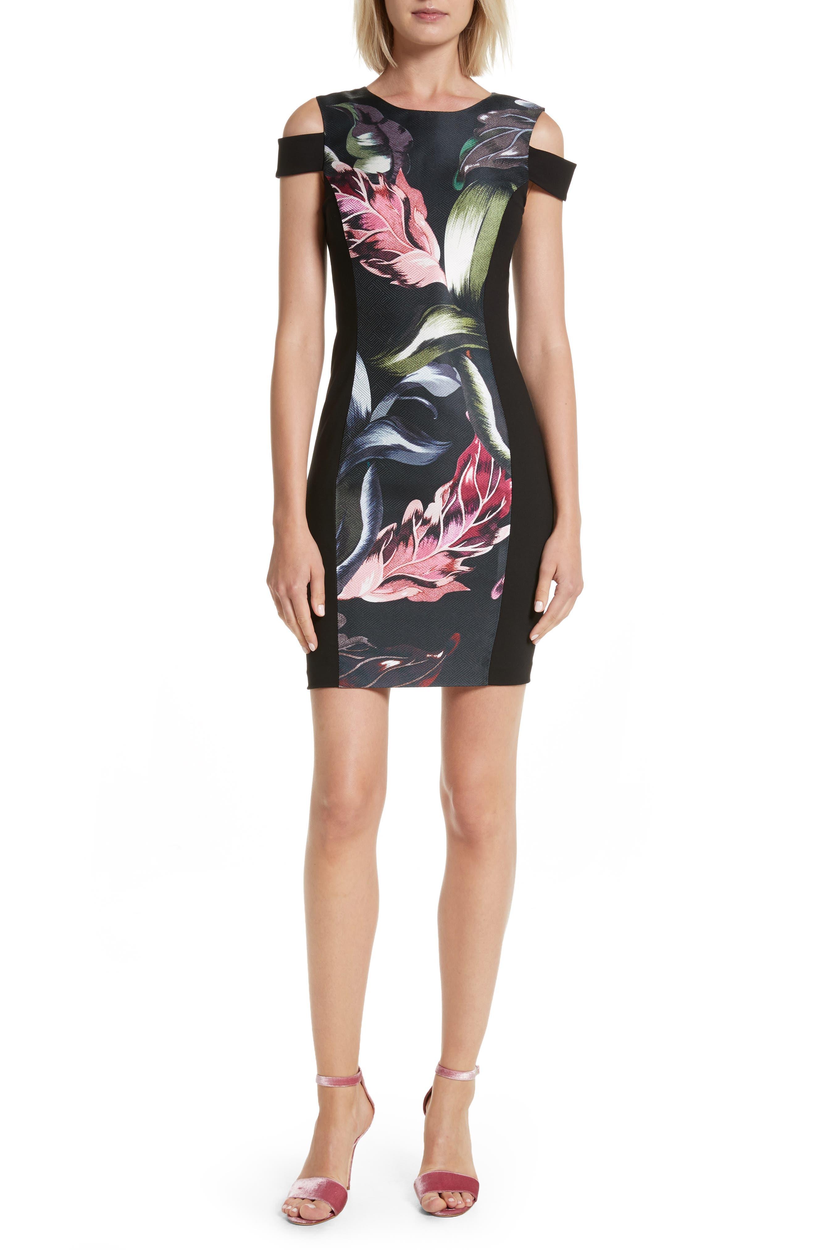 Leeash Eden Body Con Dress,                         Main,                         color, Black