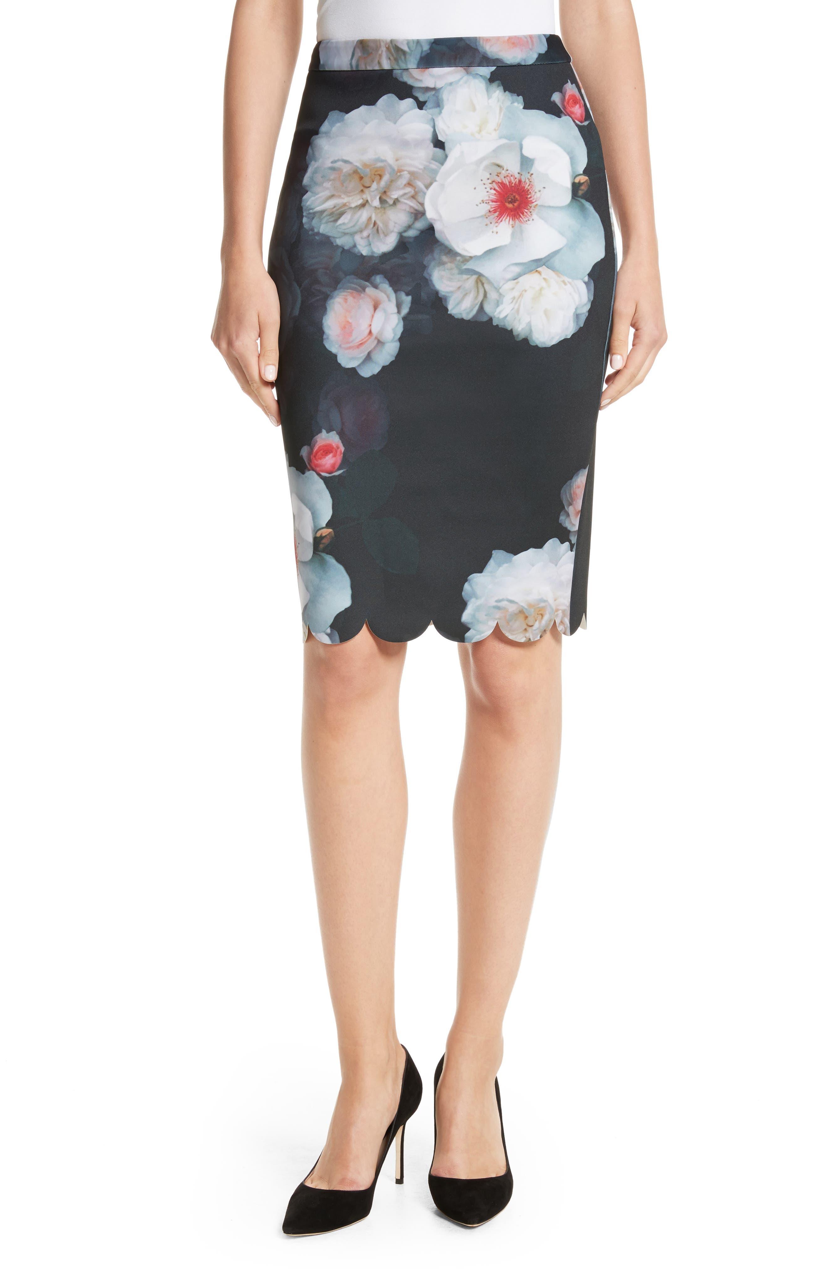 Laylie Chelsea Print Pencil Skirt,                         Main,                         color, Black