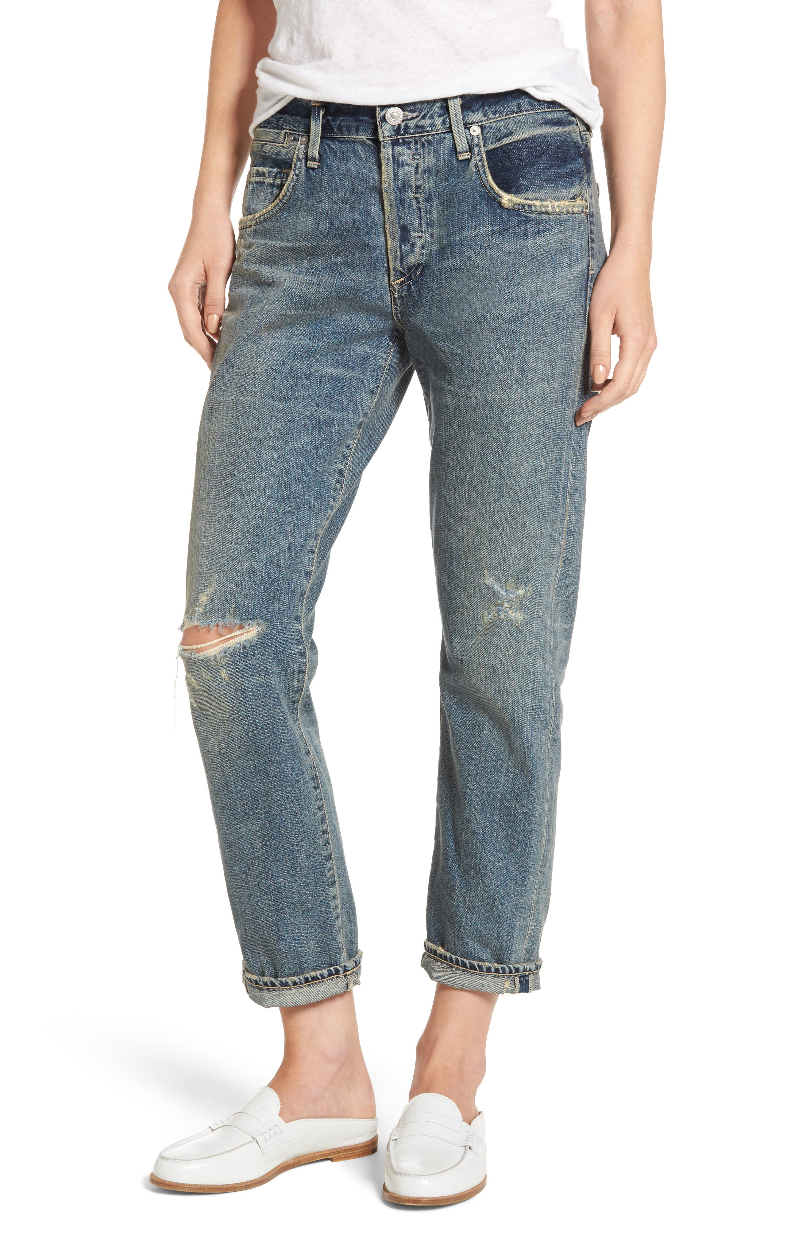 Alternate Image 1 Selected - Citizens of Humanity Emerson Ripped Slim Boyfriend Jeans (Norlander)