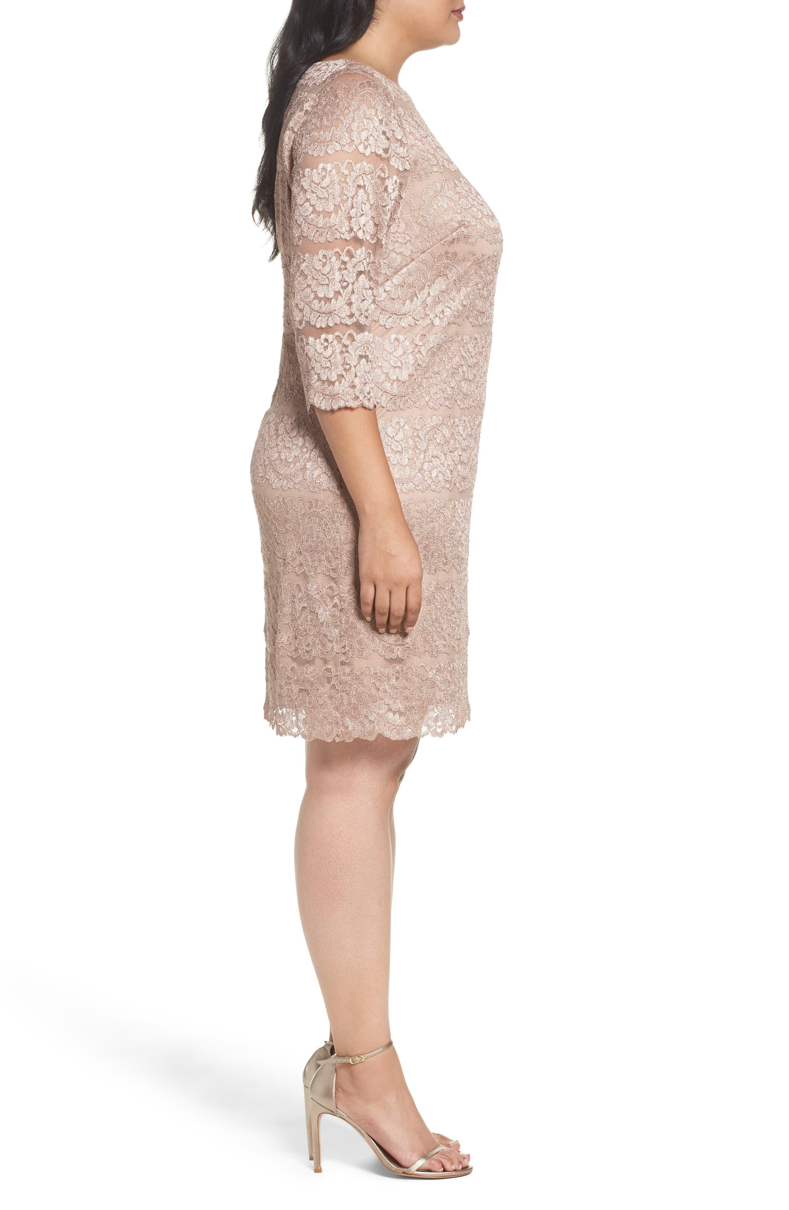 Lace Shift Dress,                             Alternate thumbnail 3, color,                             Almond