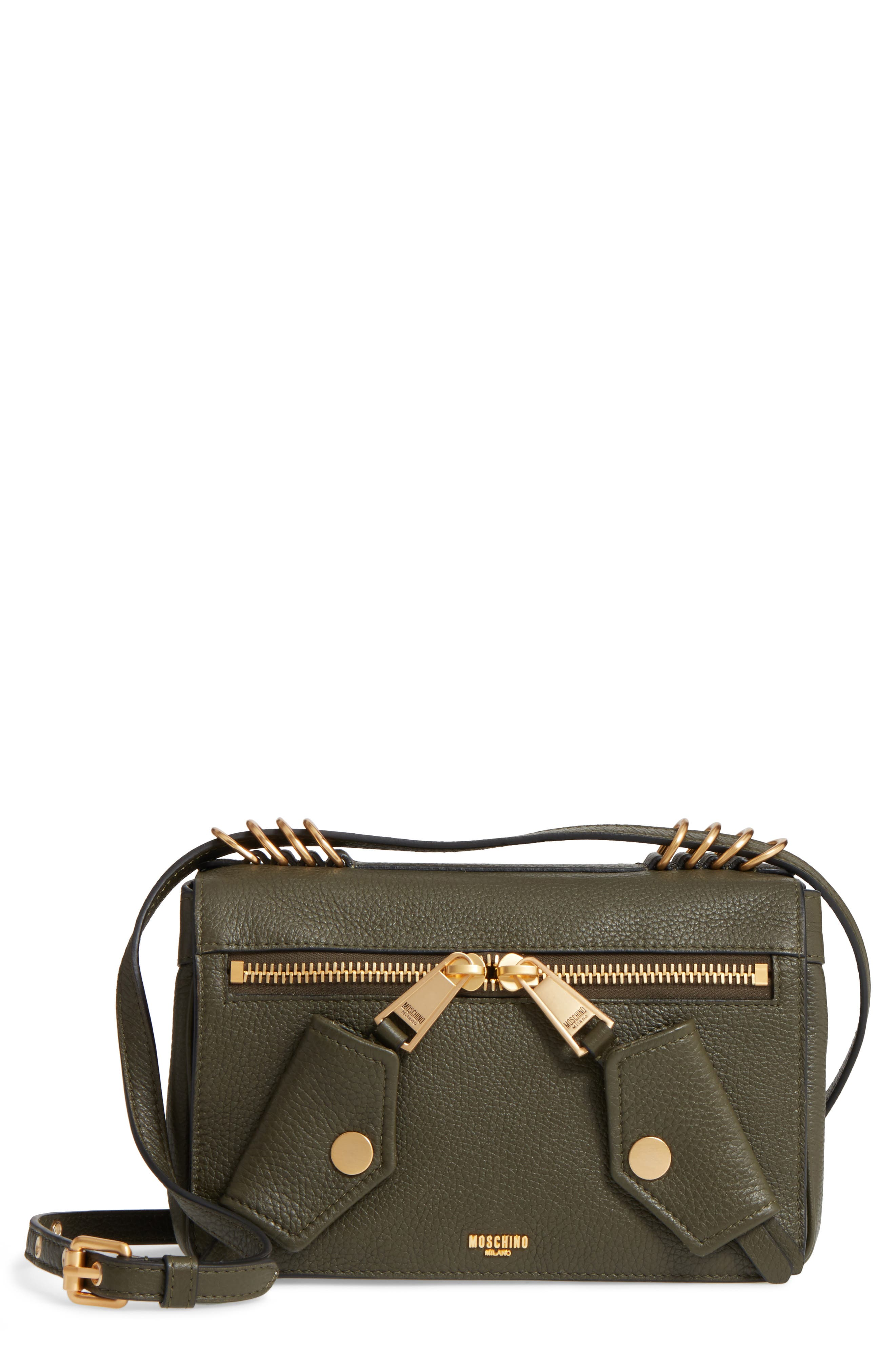 Moschino Grainy-B Leather Crossbody Bag