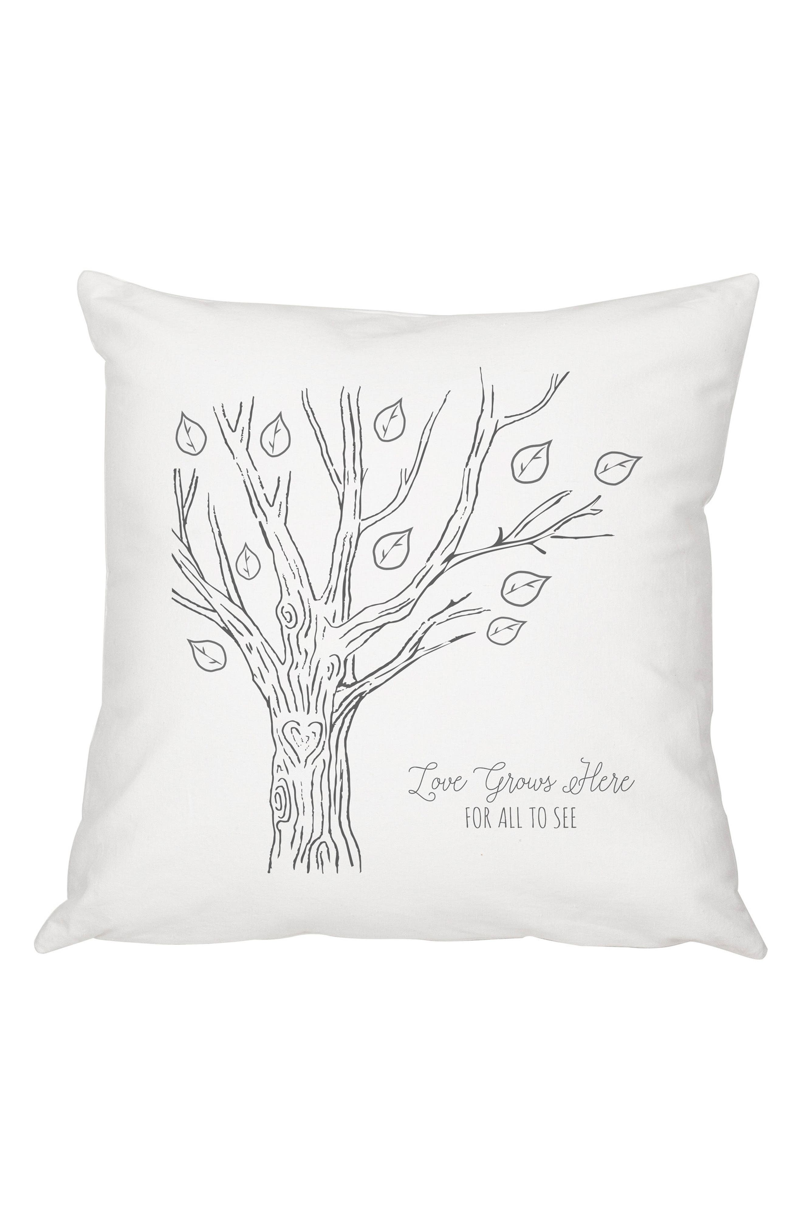 Family Tree Accent Pillow,                         Main,                         color, Black