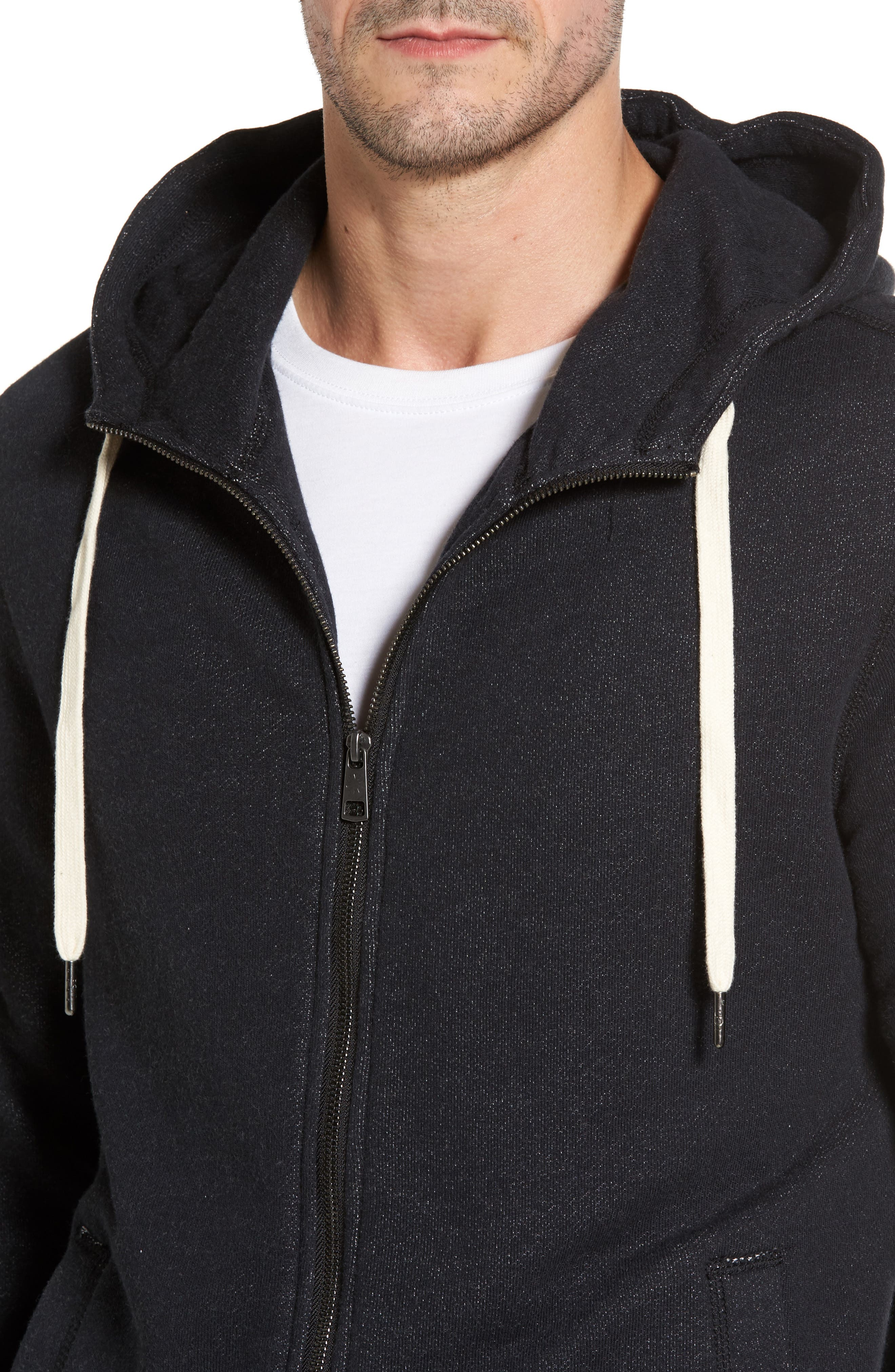 French Terry Full Zip Hoodie,                             Alternate thumbnail 4, color,                             Black