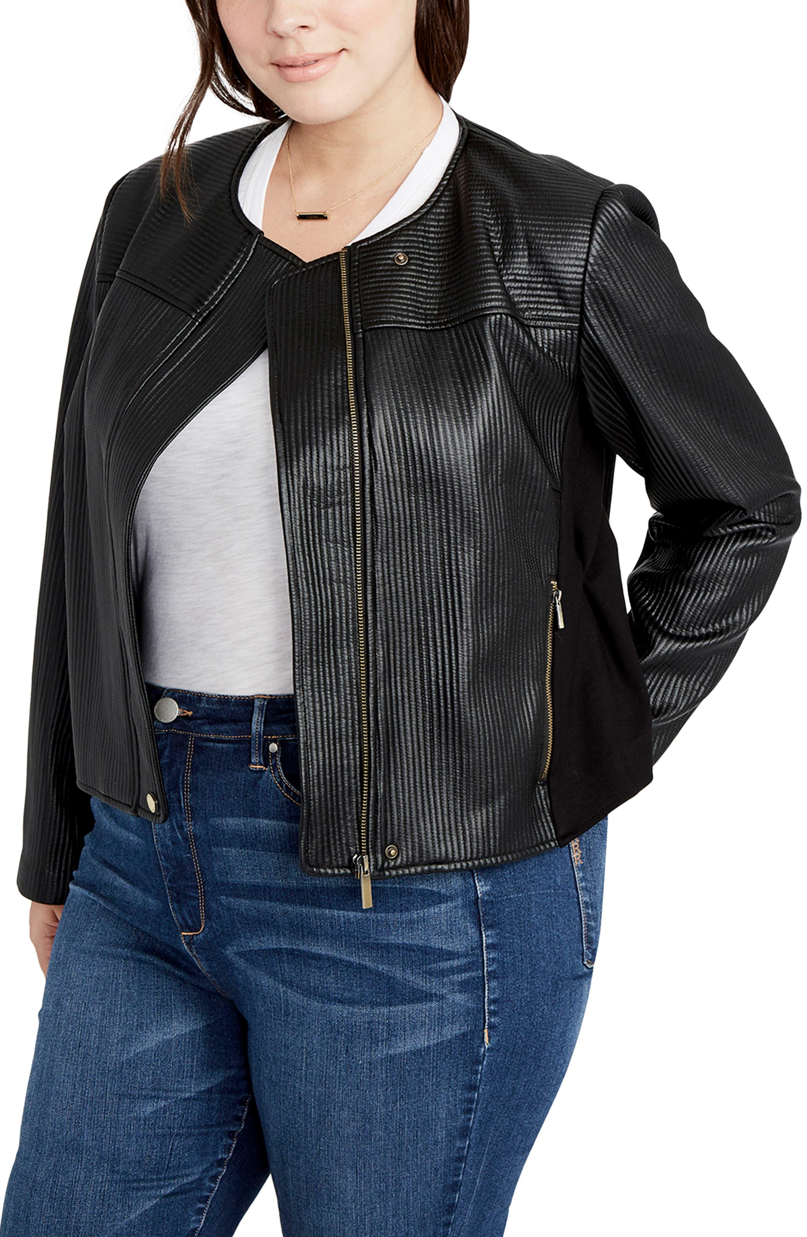 RACHEL Rachel Roy Quilted Moto Jacket (Plus Size)