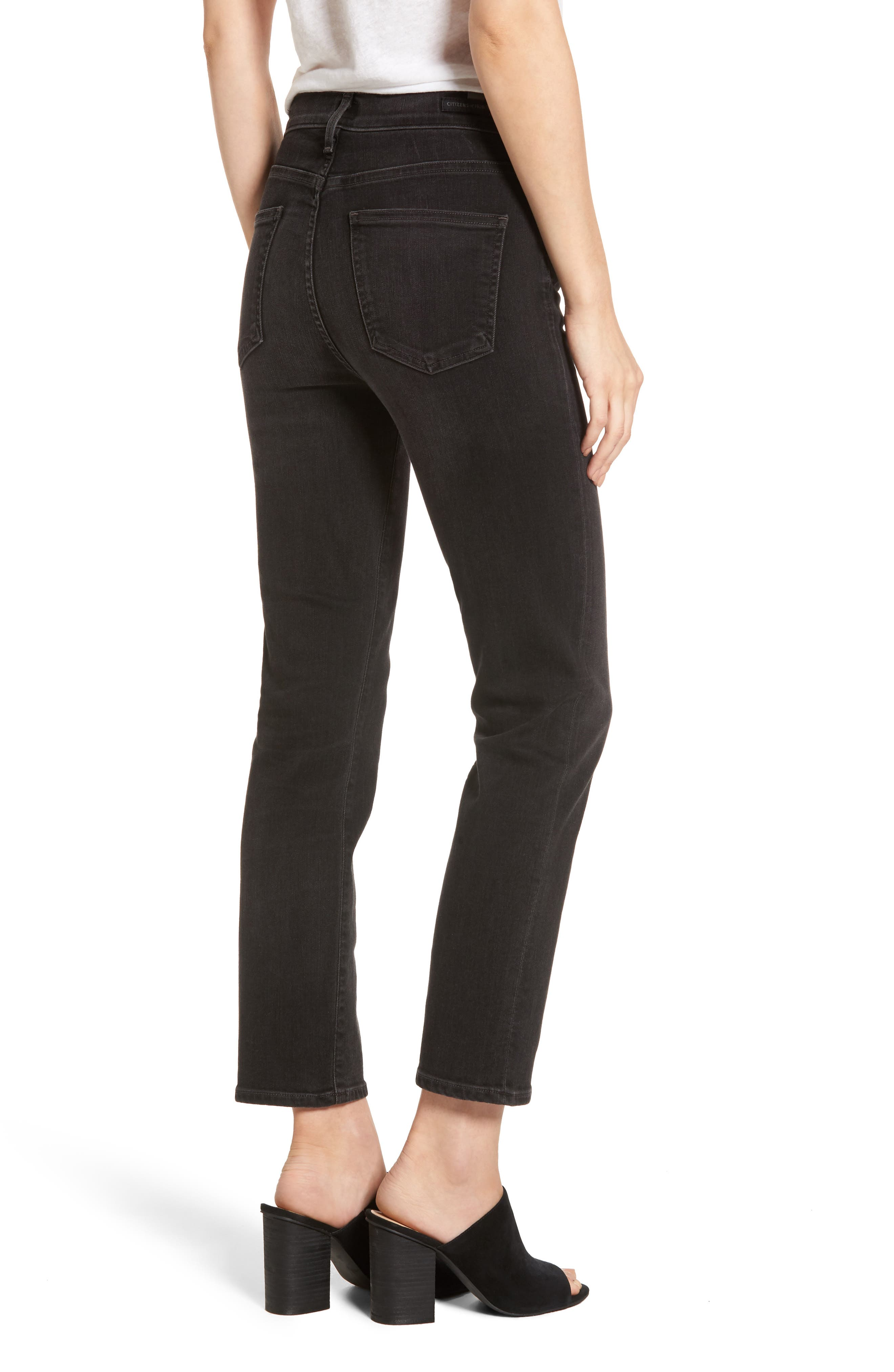 Cara Ankle Cigarette Jeans,                             Alternate thumbnail 2, color,                             Darkness