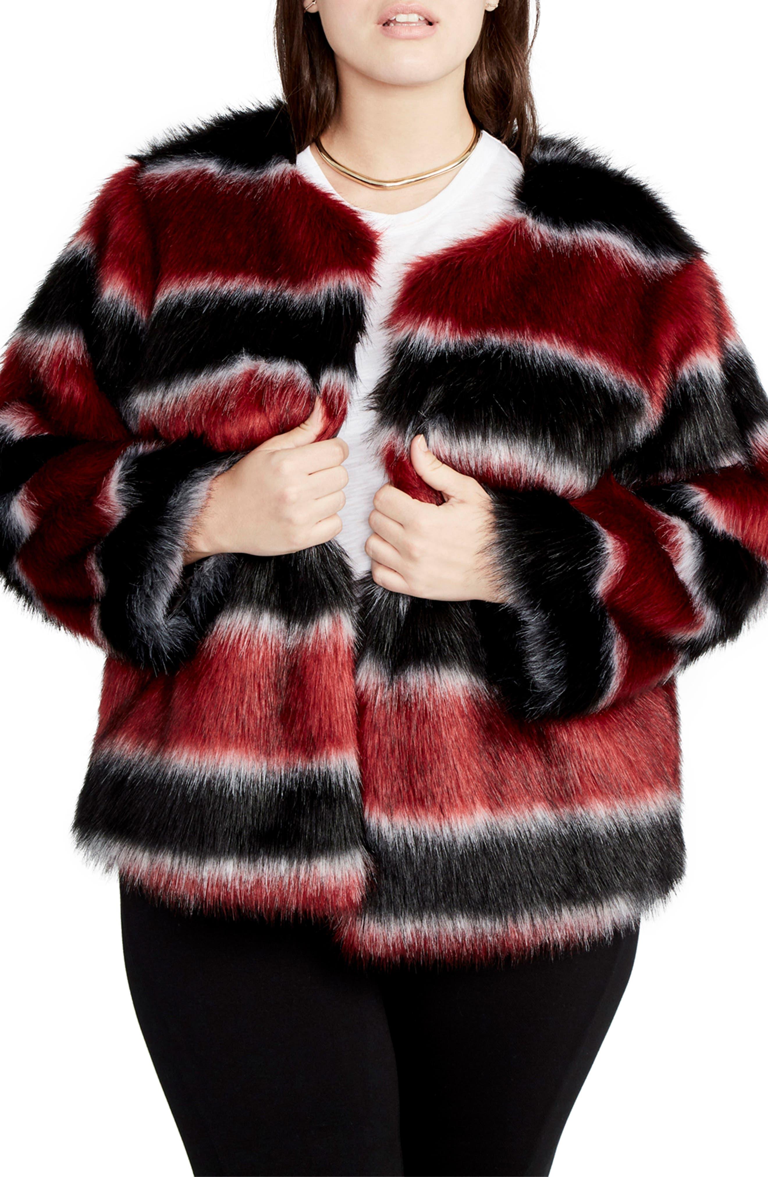 RACHEL Rachel Roy Stripe Faux Fur Coat (Plus Size)