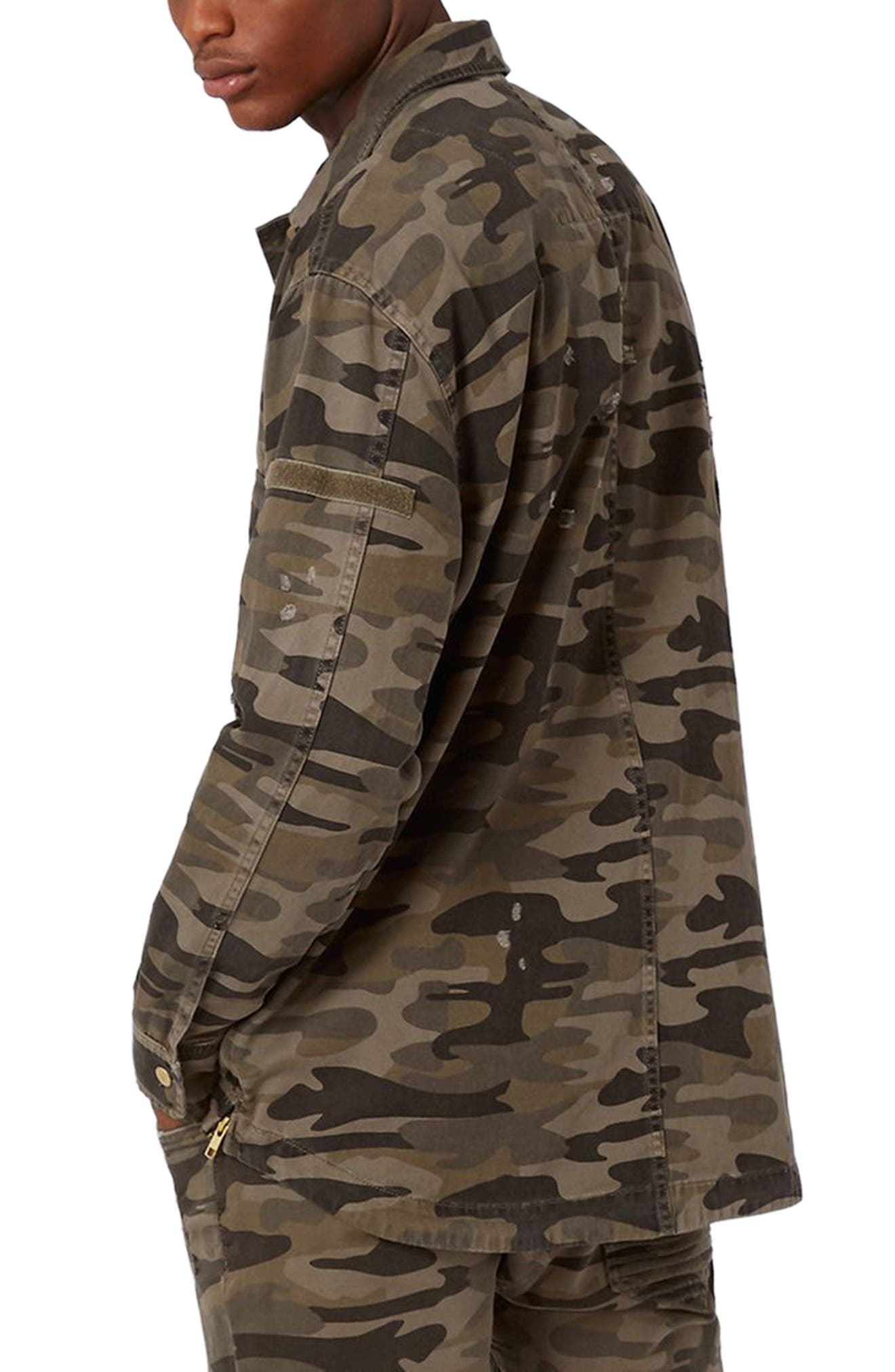 AAA Collection Distressed Camo Field Jacket,                             Alternate thumbnail 2, color,                             Green Multi