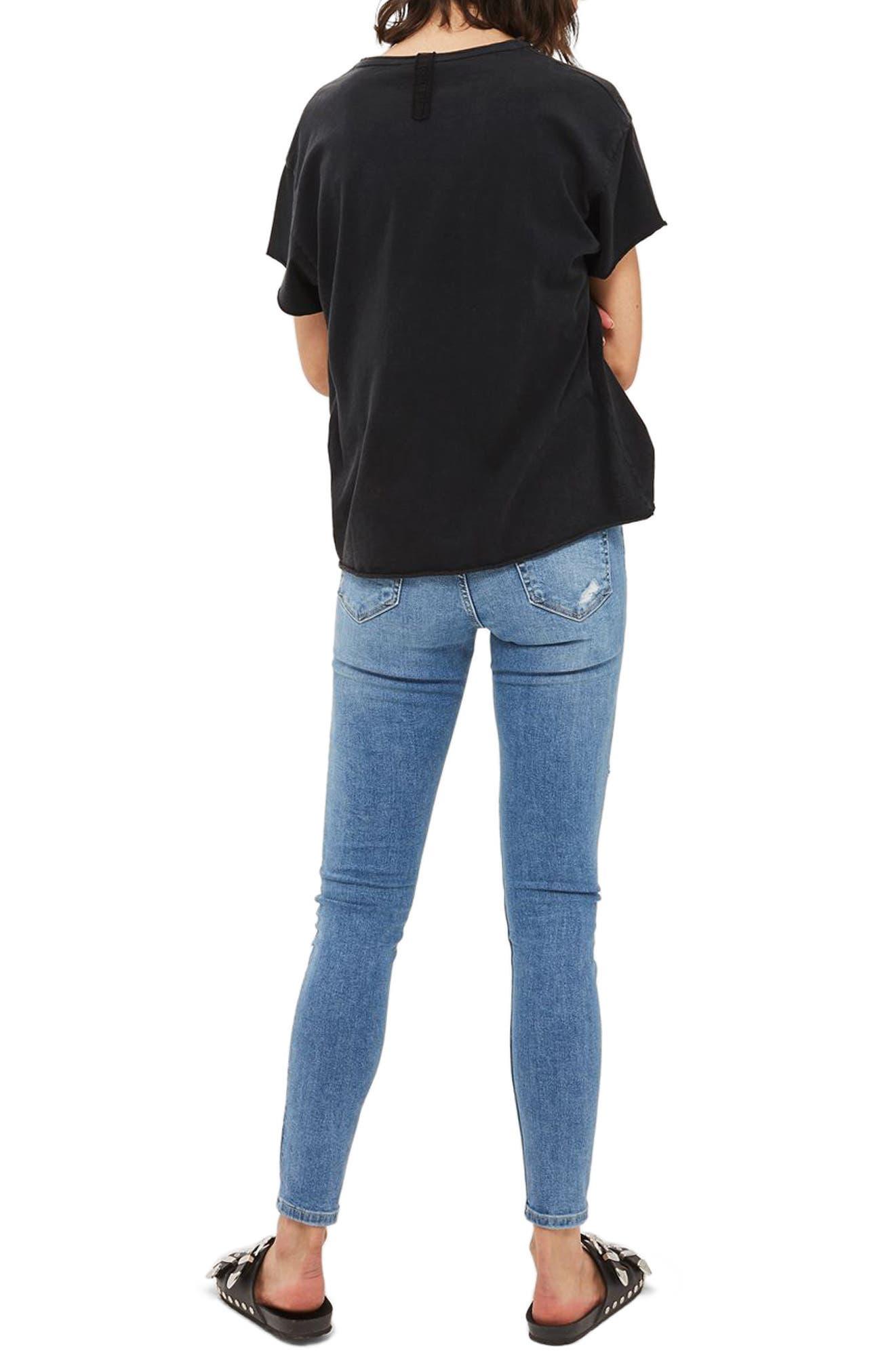Jamie Fishnet Rip Skinny Jeans,                             Alternate thumbnail 3, color,                             Mid Denim