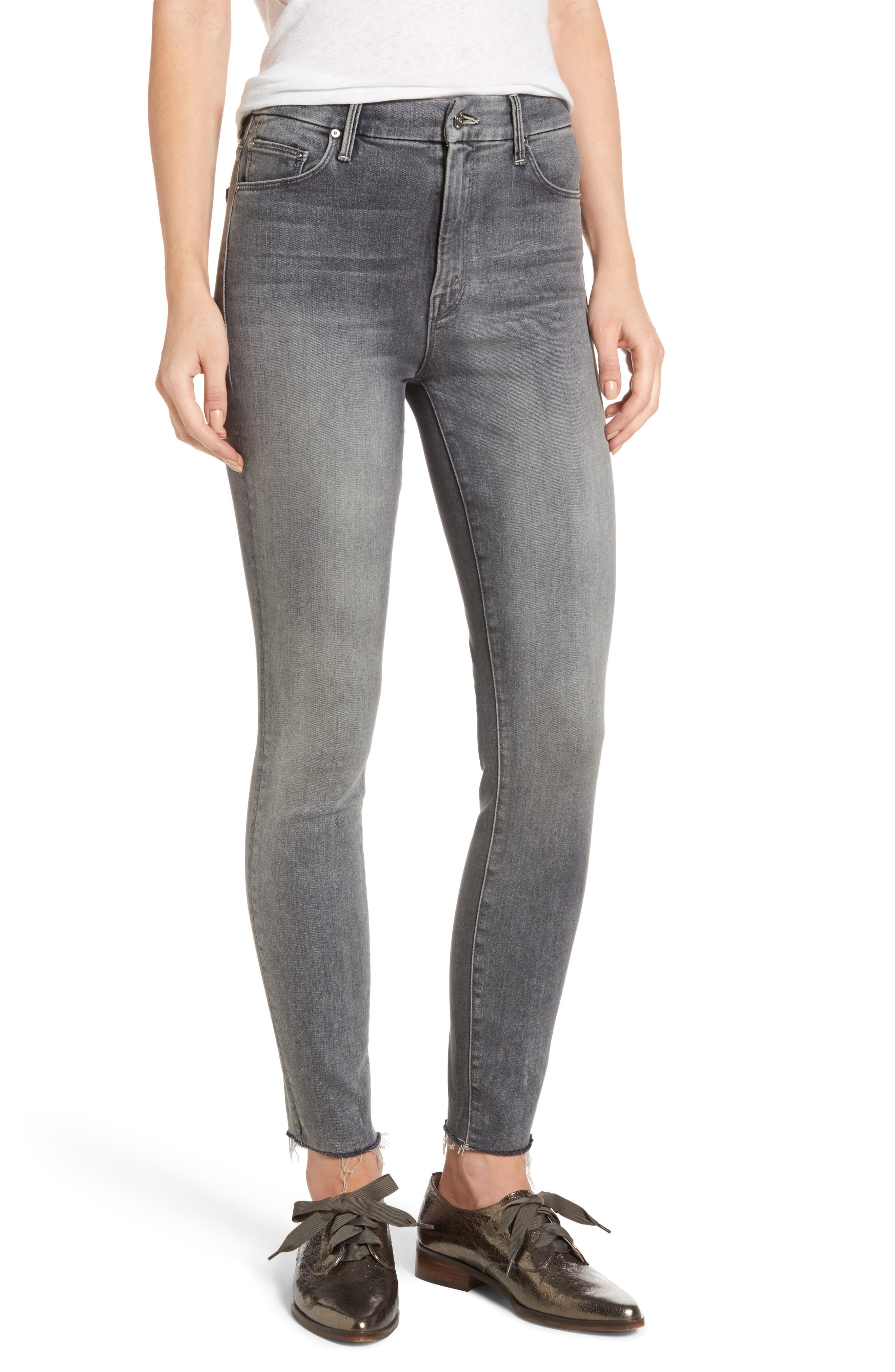 MOTHER The Looker Frayed Ankle Skinny Jeans (Huntress)