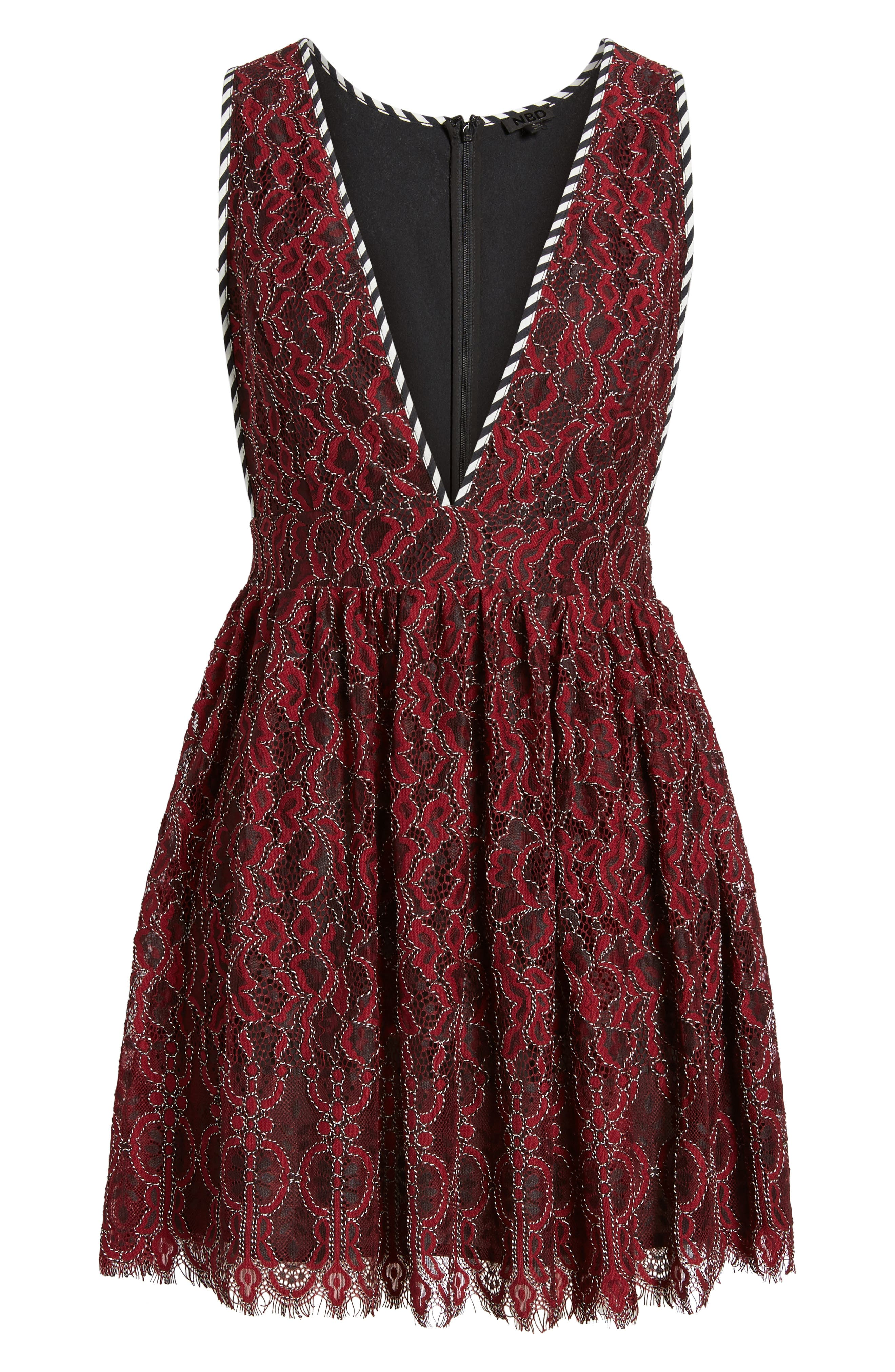 Starry Night Lace Minidress,                             Alternate thumbnail 5, color,                             Corded Oxblood