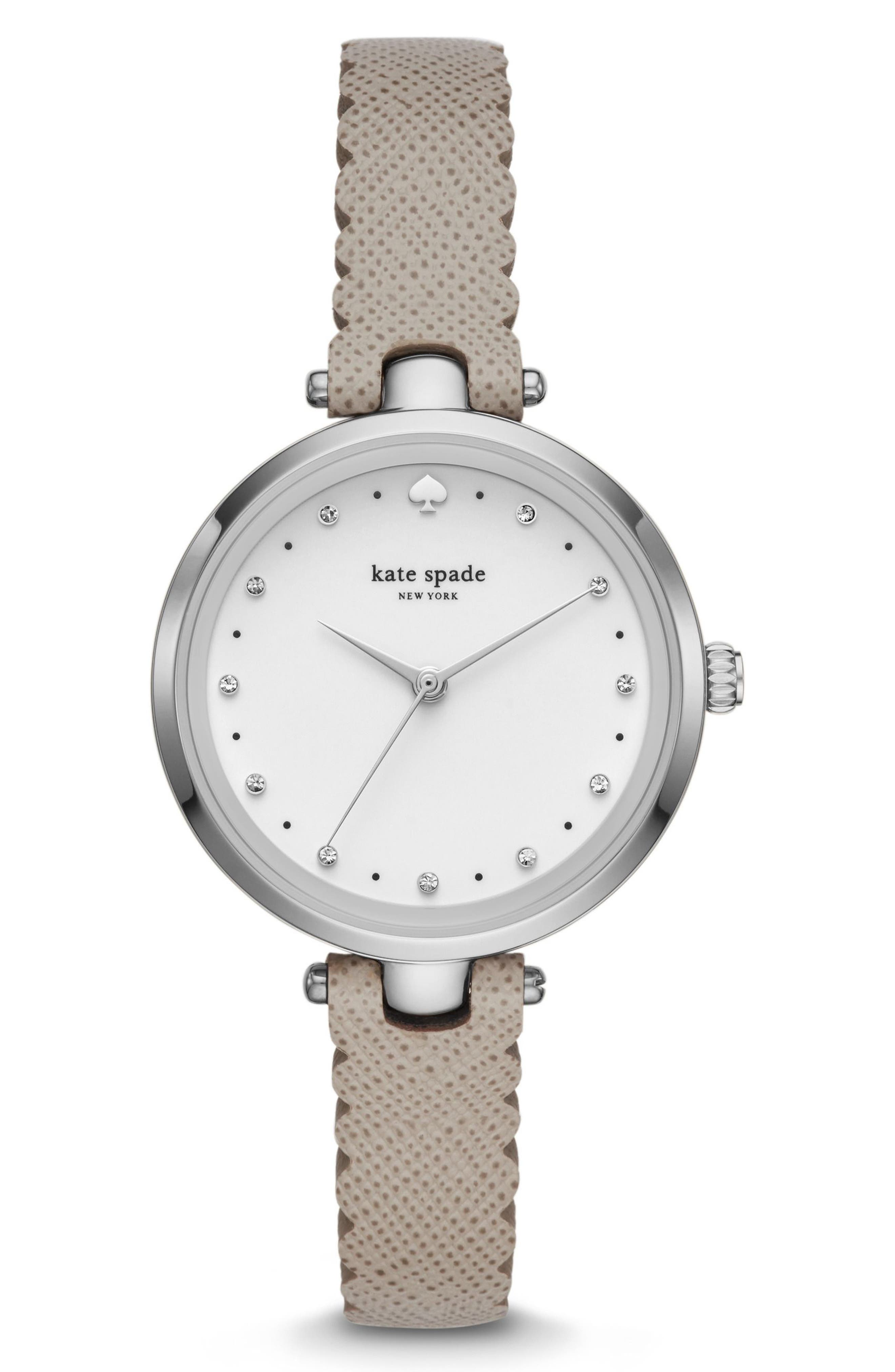 holland leather strap watch, 34mm,                         Main,                         color, Grey/ White/ Silver