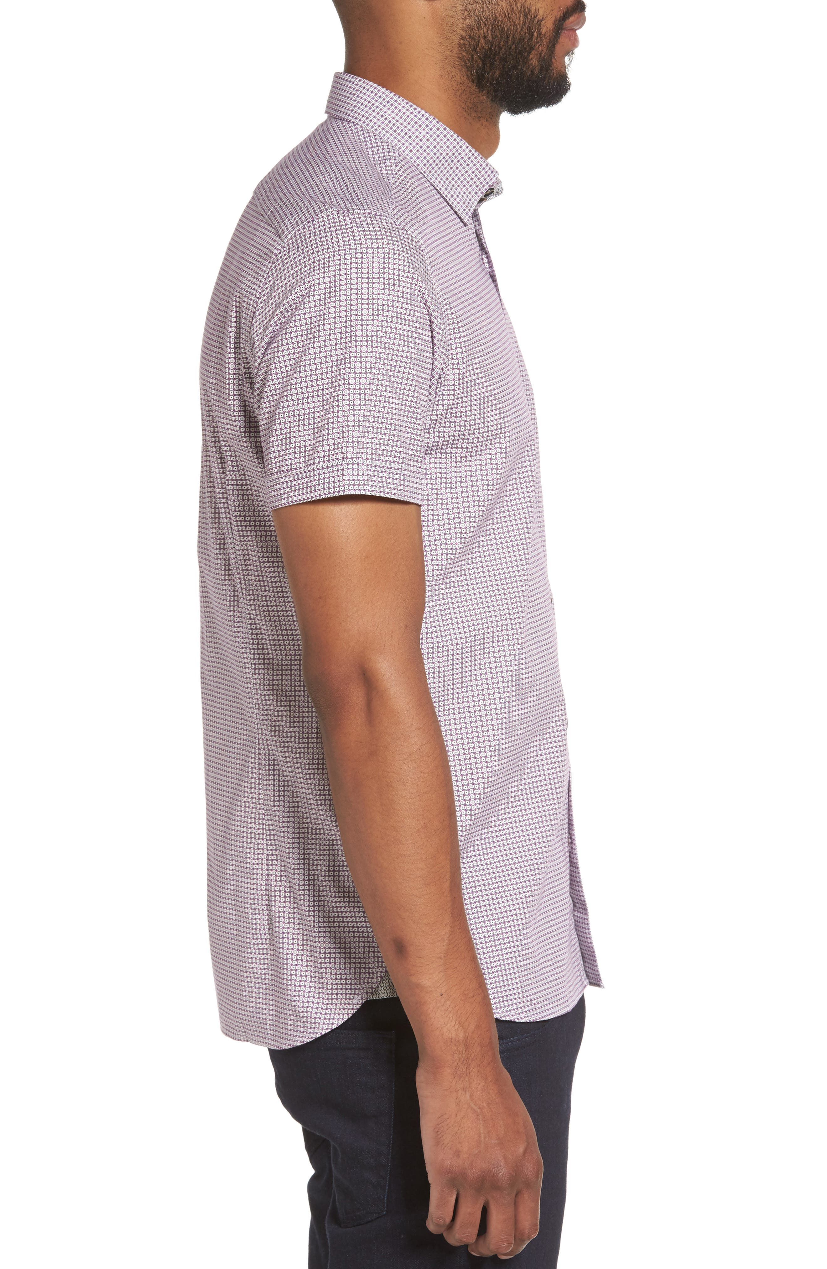 Tennent Trim Fit Microprint Woven Shirt,                             Alternate thumbnail 3, color,                             Dp Purple