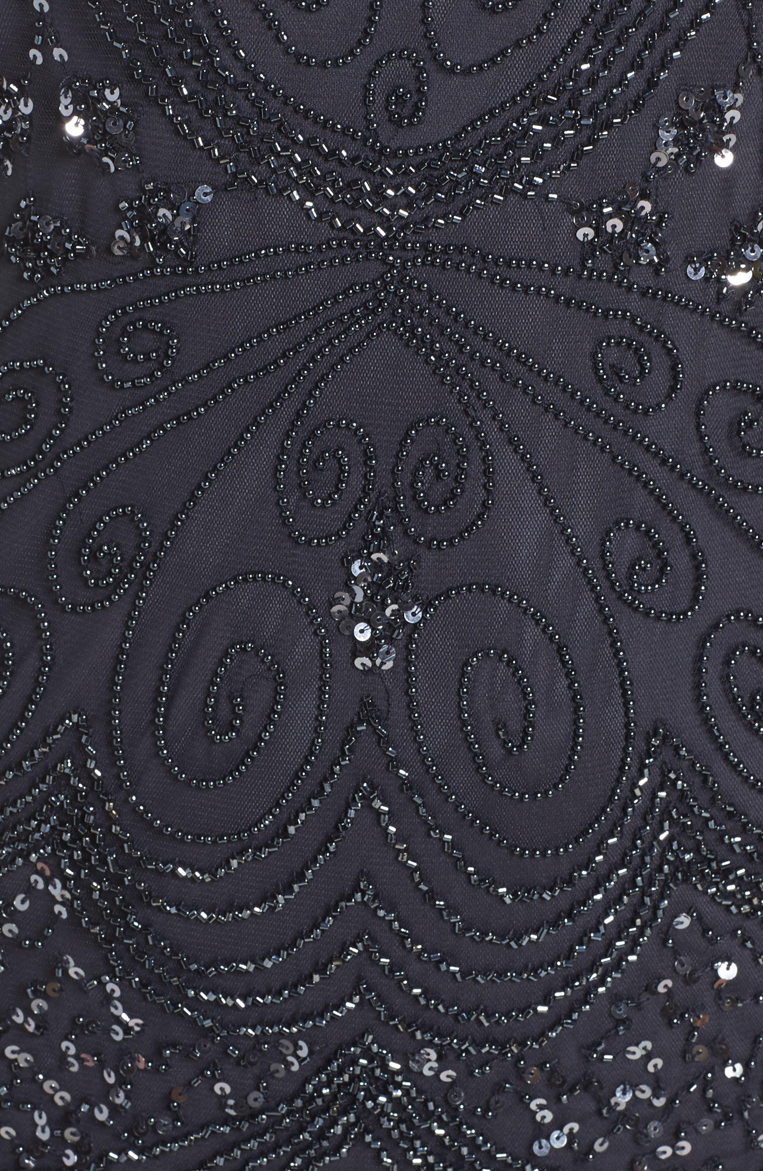 Beaded Sheath Dress,                             Alternate thumbnail 5, color,                             Charcoal