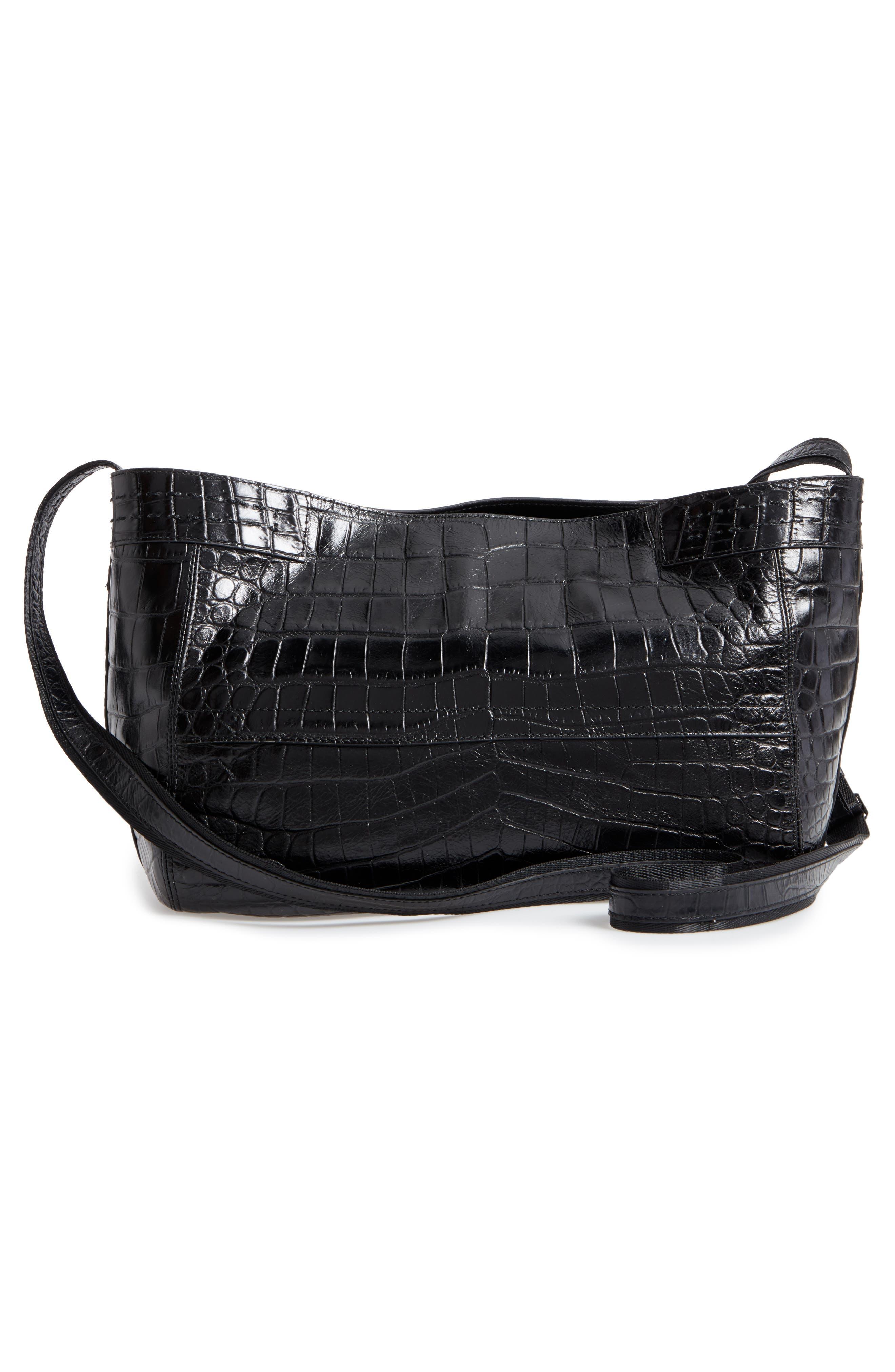 Alternate Image 2  - Elizabeth and James Mini Keely Newspaper Croc Embossed Leather Shoulder/Crossbody Bag