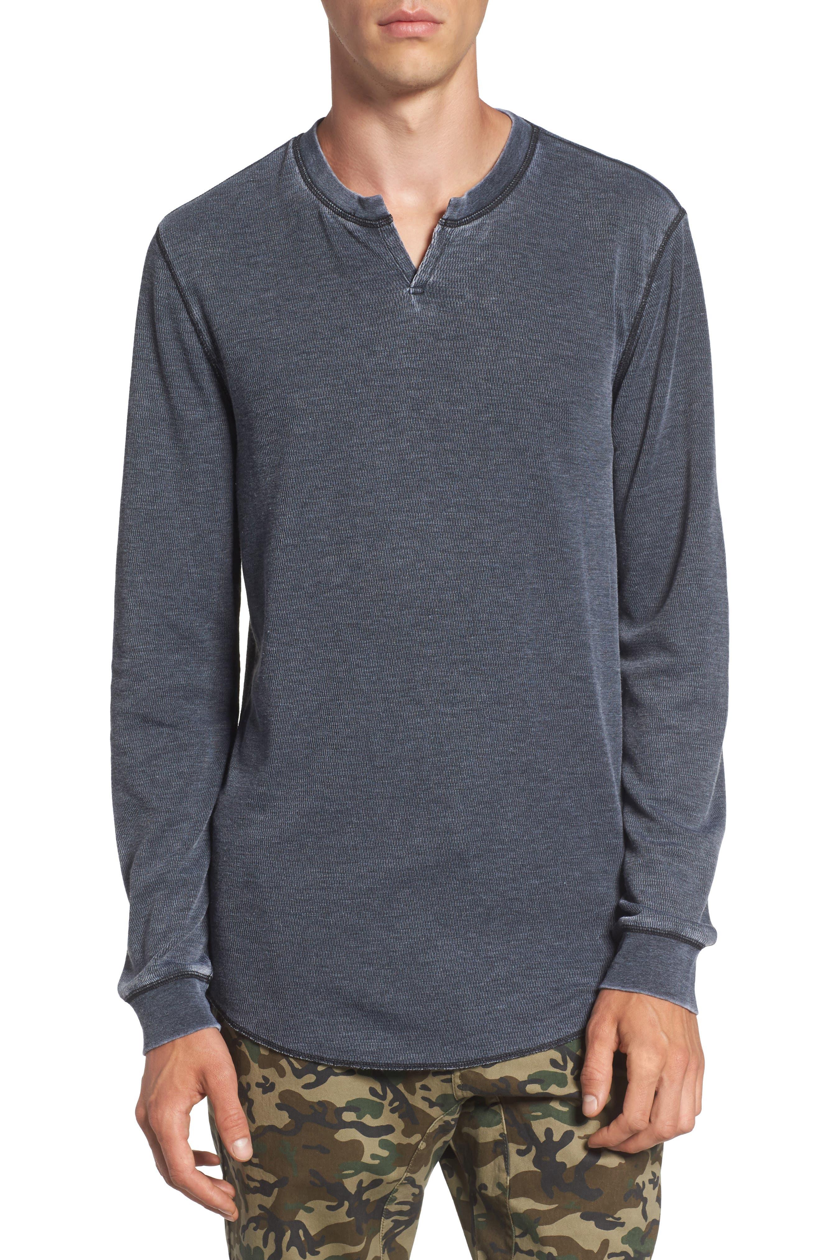 Notch Neck Thermal T-Shirt,                         Main,                         color, Black/ White Burnout