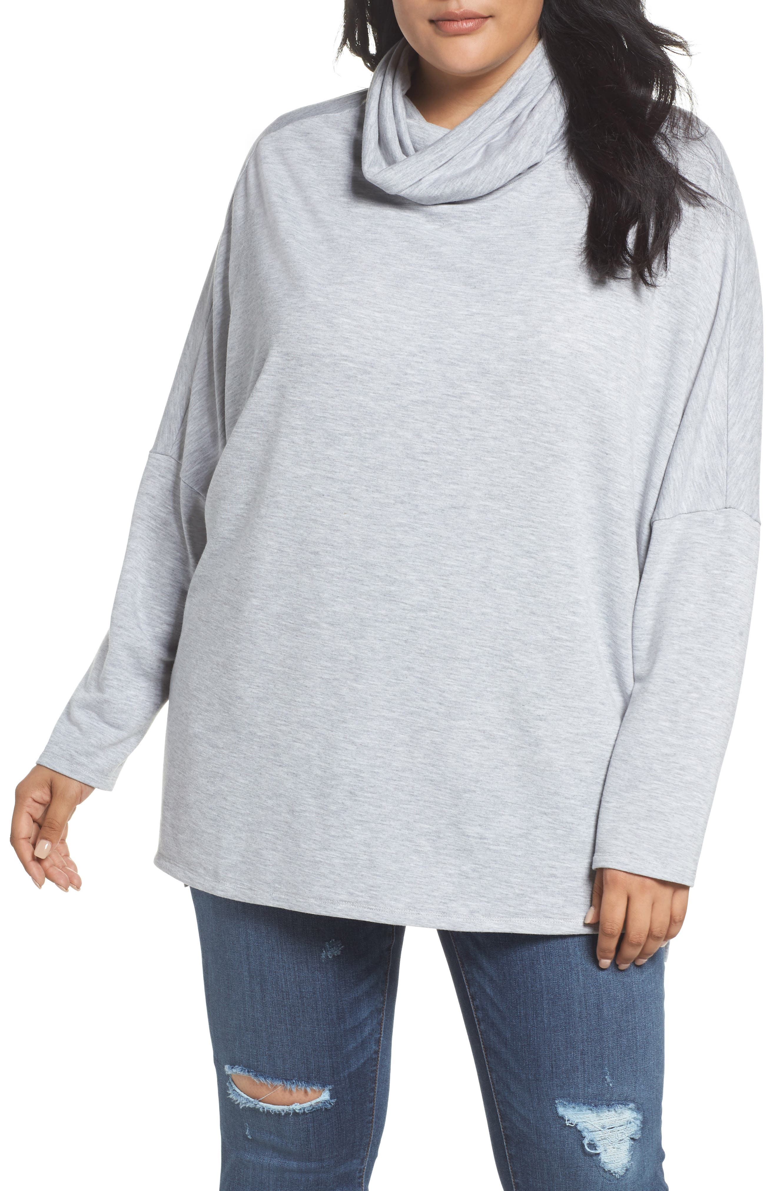 Cowl Neck Tunic,                             Main thumbnail 1, color,                             Grey Heather